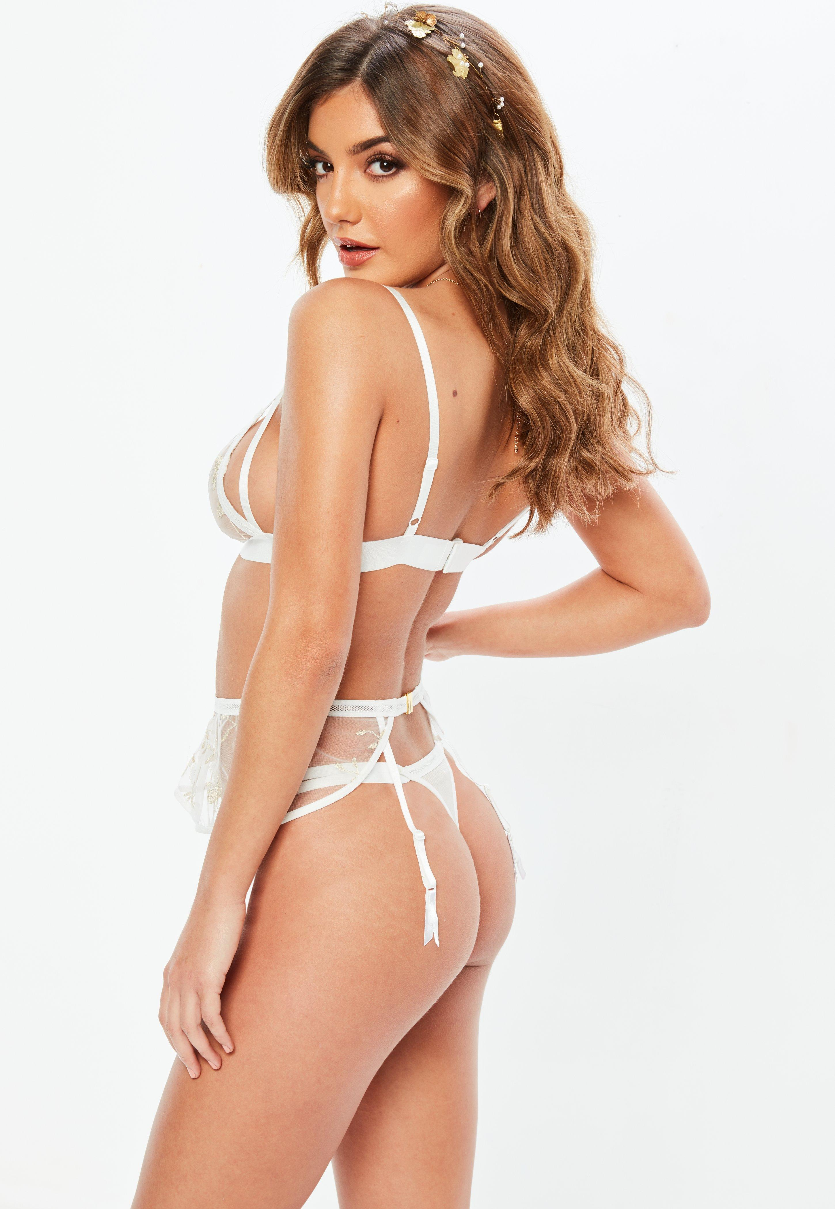 007d493907 Lyst - Missguided White Mesh Floral Embroidered Suspender Belt in White