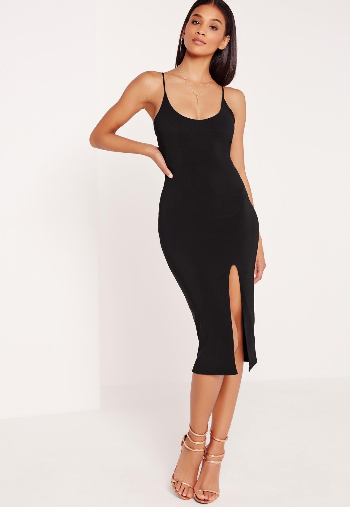 b722ef1960 Missguided - Strappy Scoop Neck Midi Dress Black - Lyst. View fullscreen
