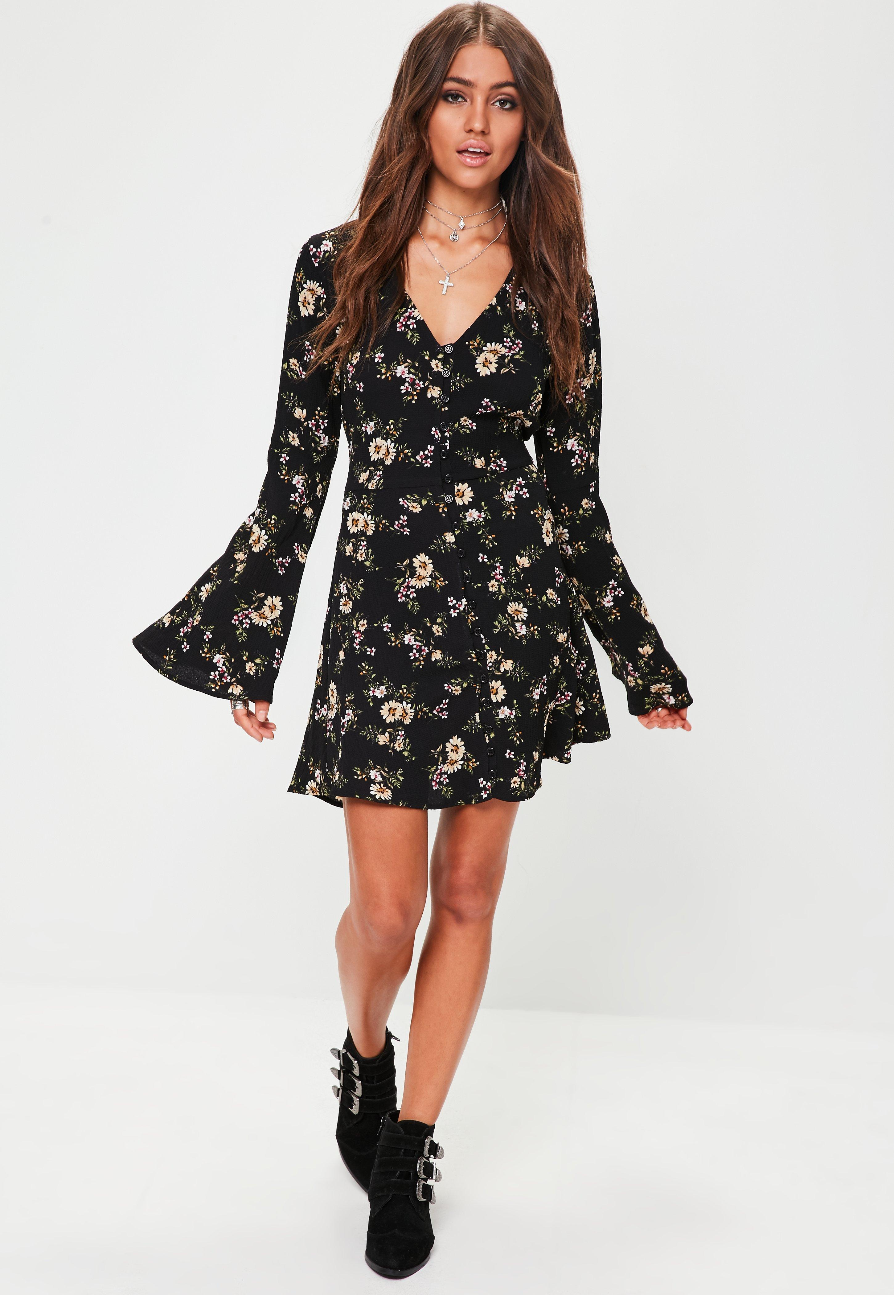 ad0f612fe74f Missguided Floral Print Long Sleeve Skater Dress