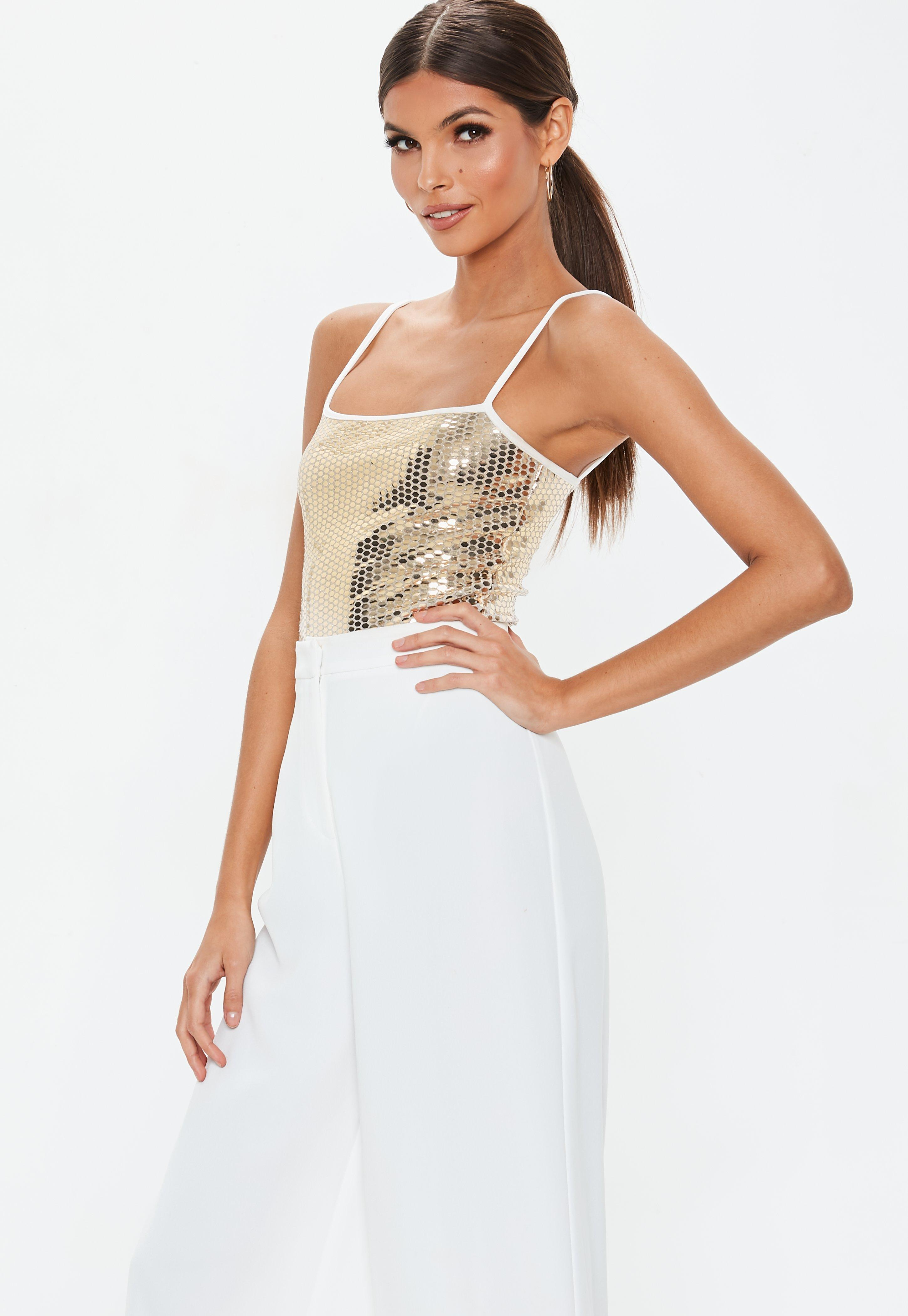 b57a8fc31f77f7 Lyst - Missguided Gold Square Neck Sequin Bodysuit in Metallic