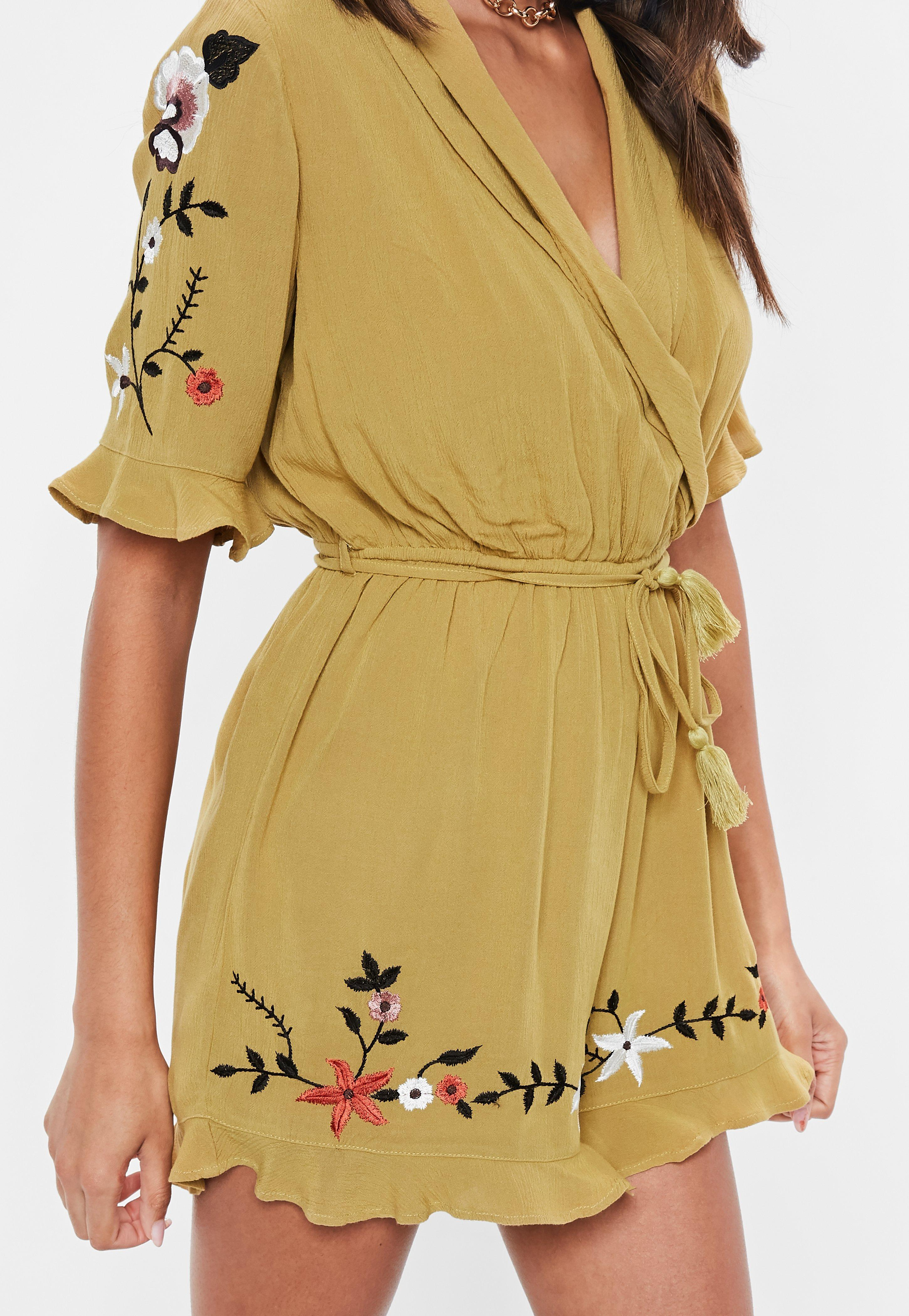 2fac4f39e04c Lyst - Missguided Mustard Cheesecloth Embroidered Romper in Yellow