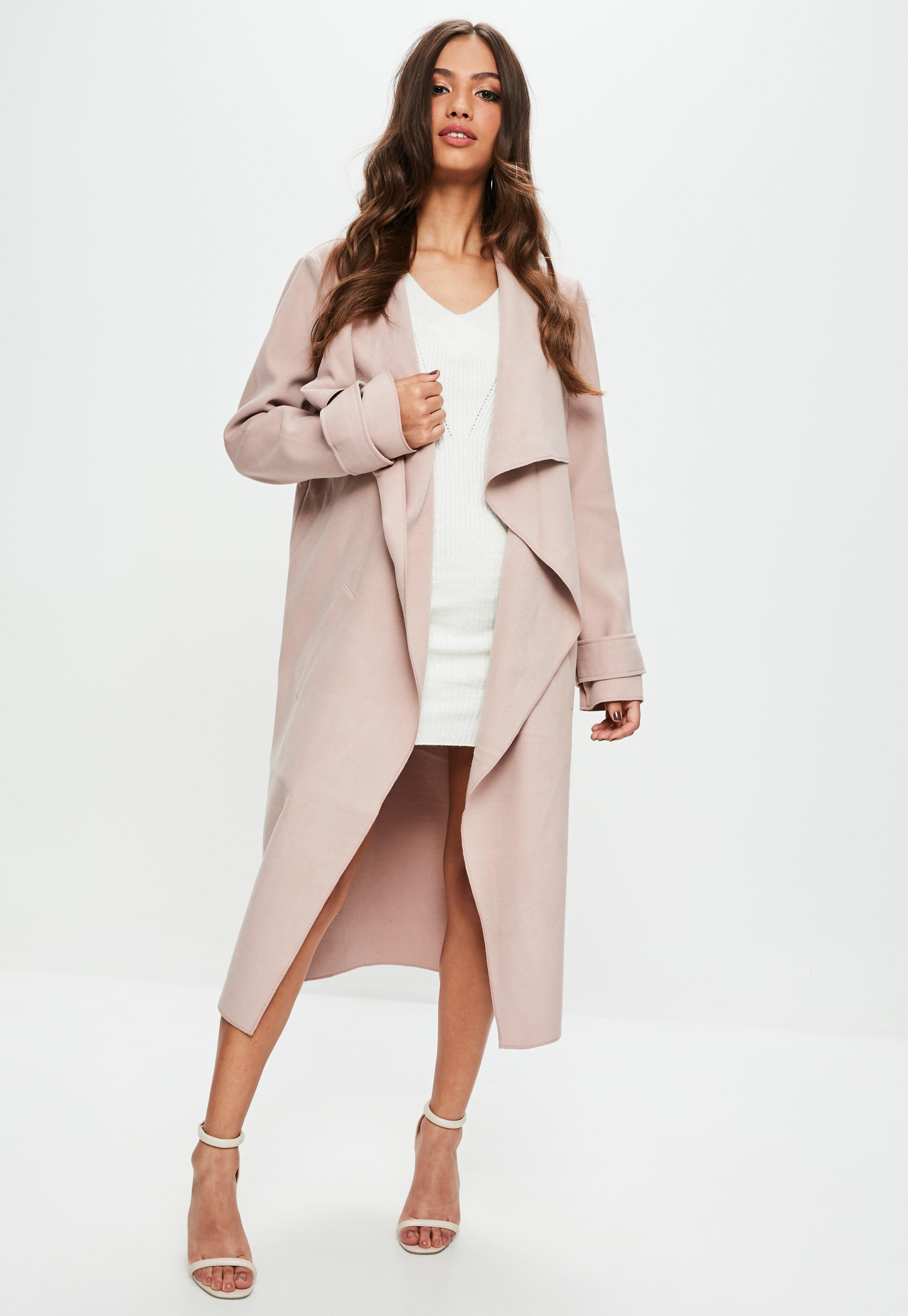 3e69ab7af986c Lyst - Missguided Nude Oversized Waterfall Duster Jacket in Natural
