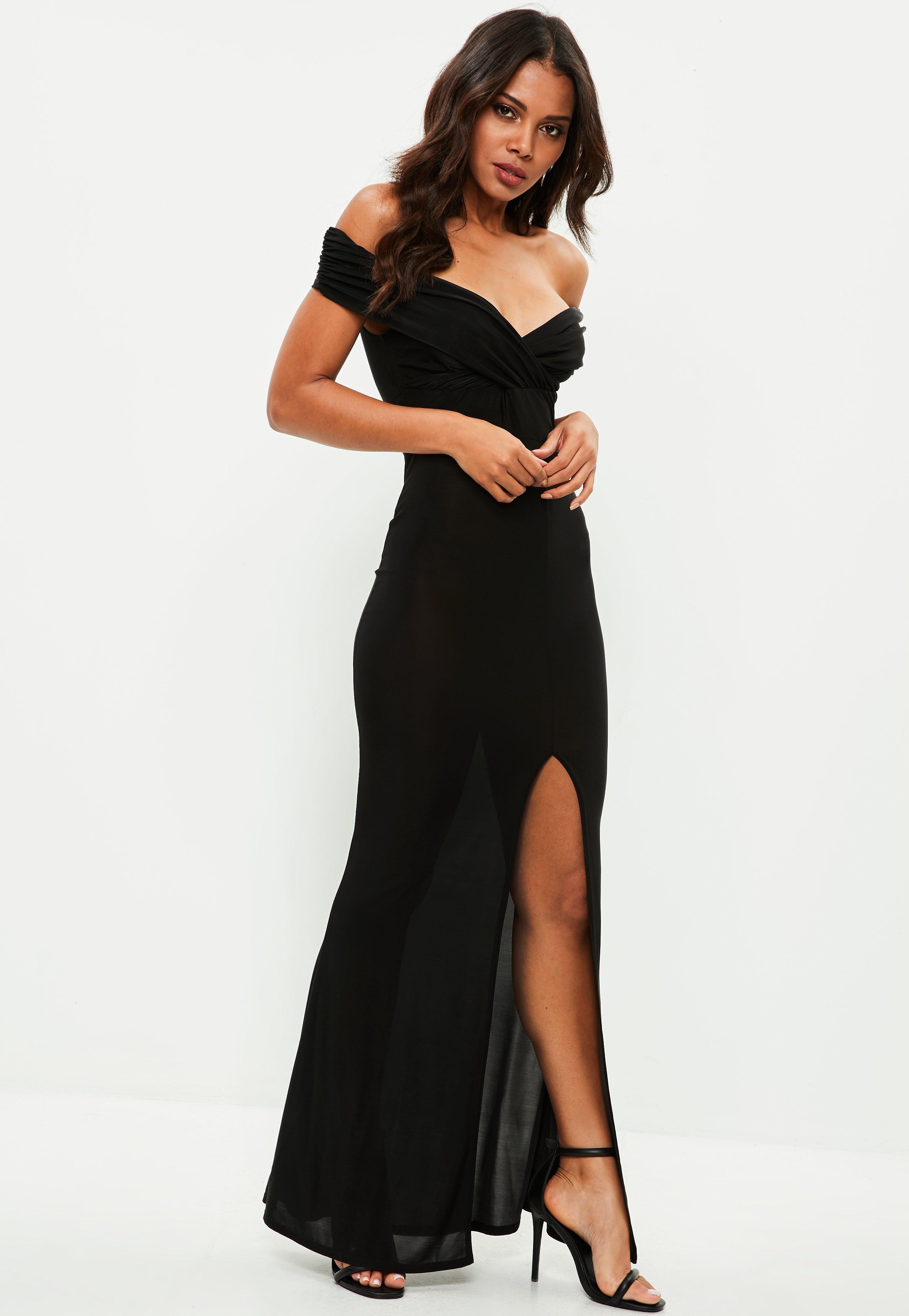 Lyst - Missguided Black Slinky Bardot Wrap Front Split Maxi Dress in ... 87d9f0350