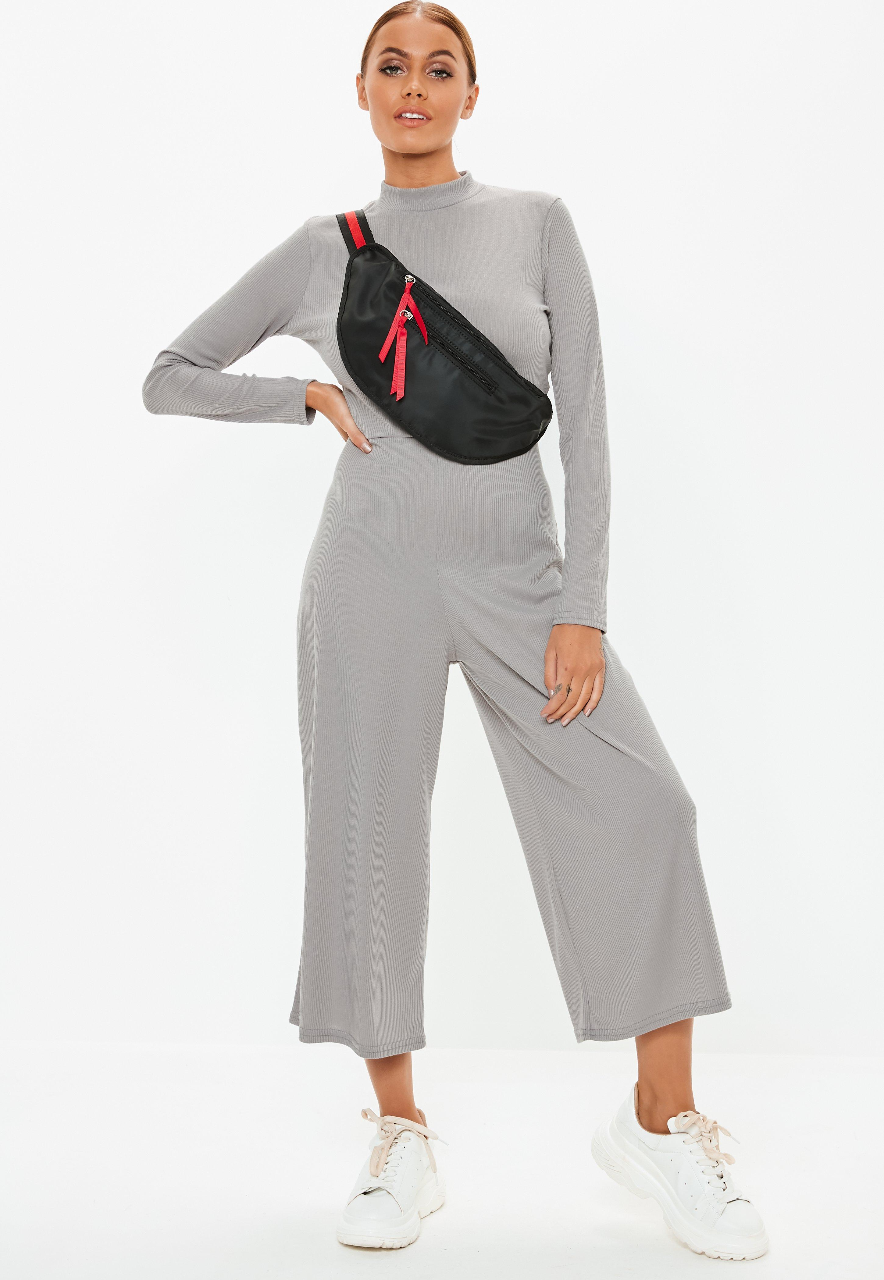 15f99da0238 Lyst - Missguided Grey High Neck Ribbed Culotte Jumpsuit in Gray