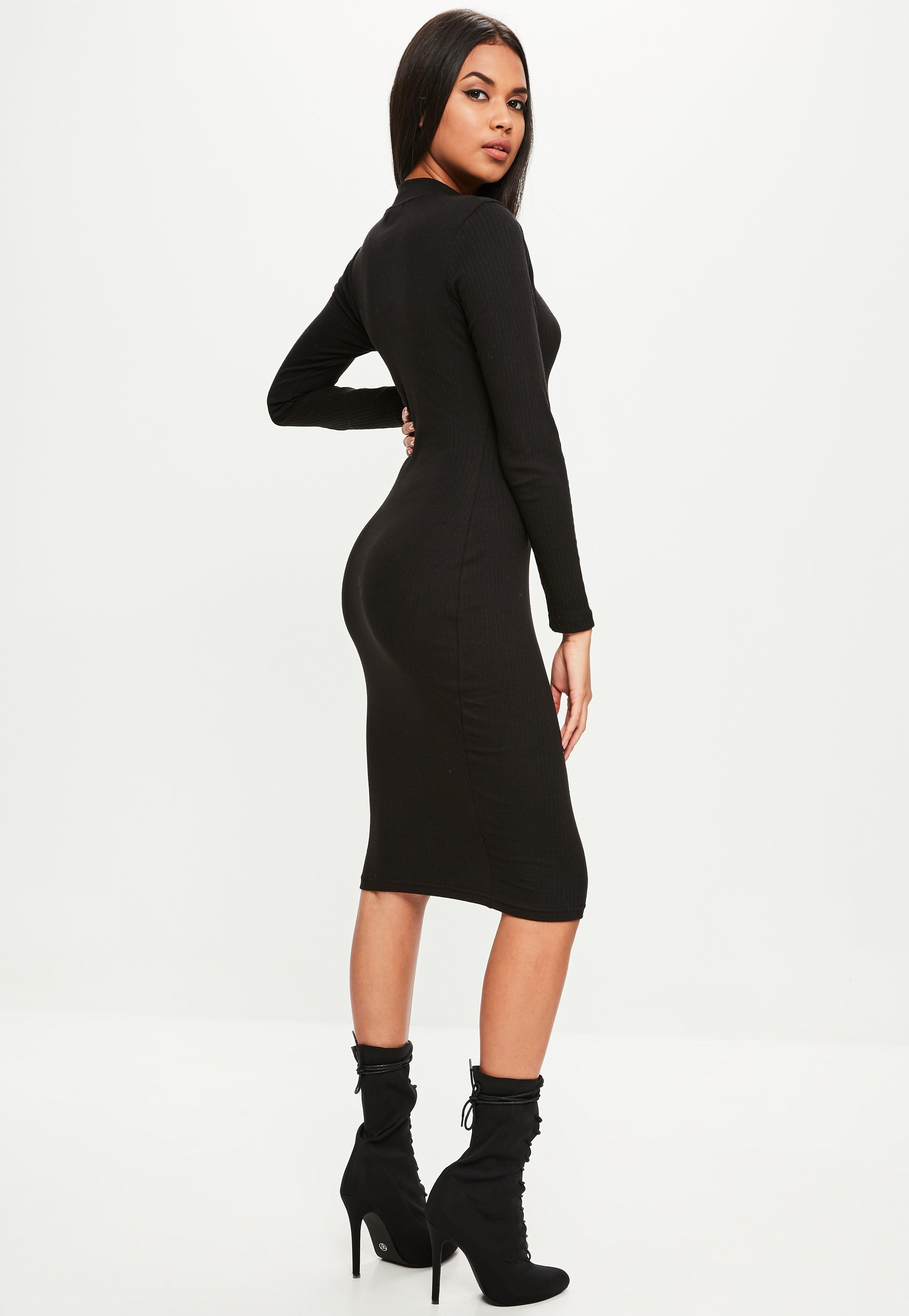 230f910ff7f45a Lyst - Missguided Black Long Sleeved High Neck Ribbed Midi Dress in ...
