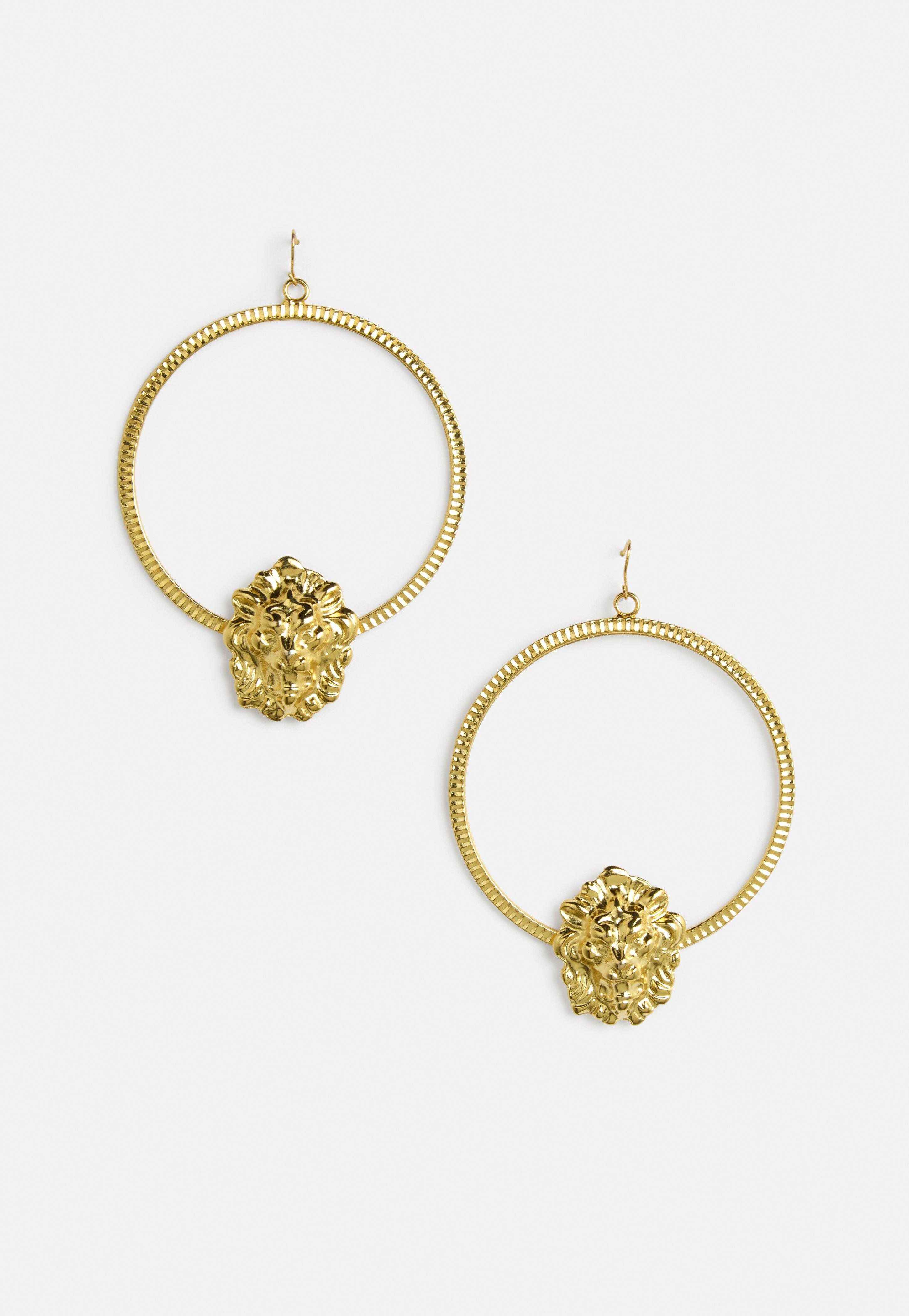 Diamonte Rainbow Stud Detail Hoops - Gold Missguided