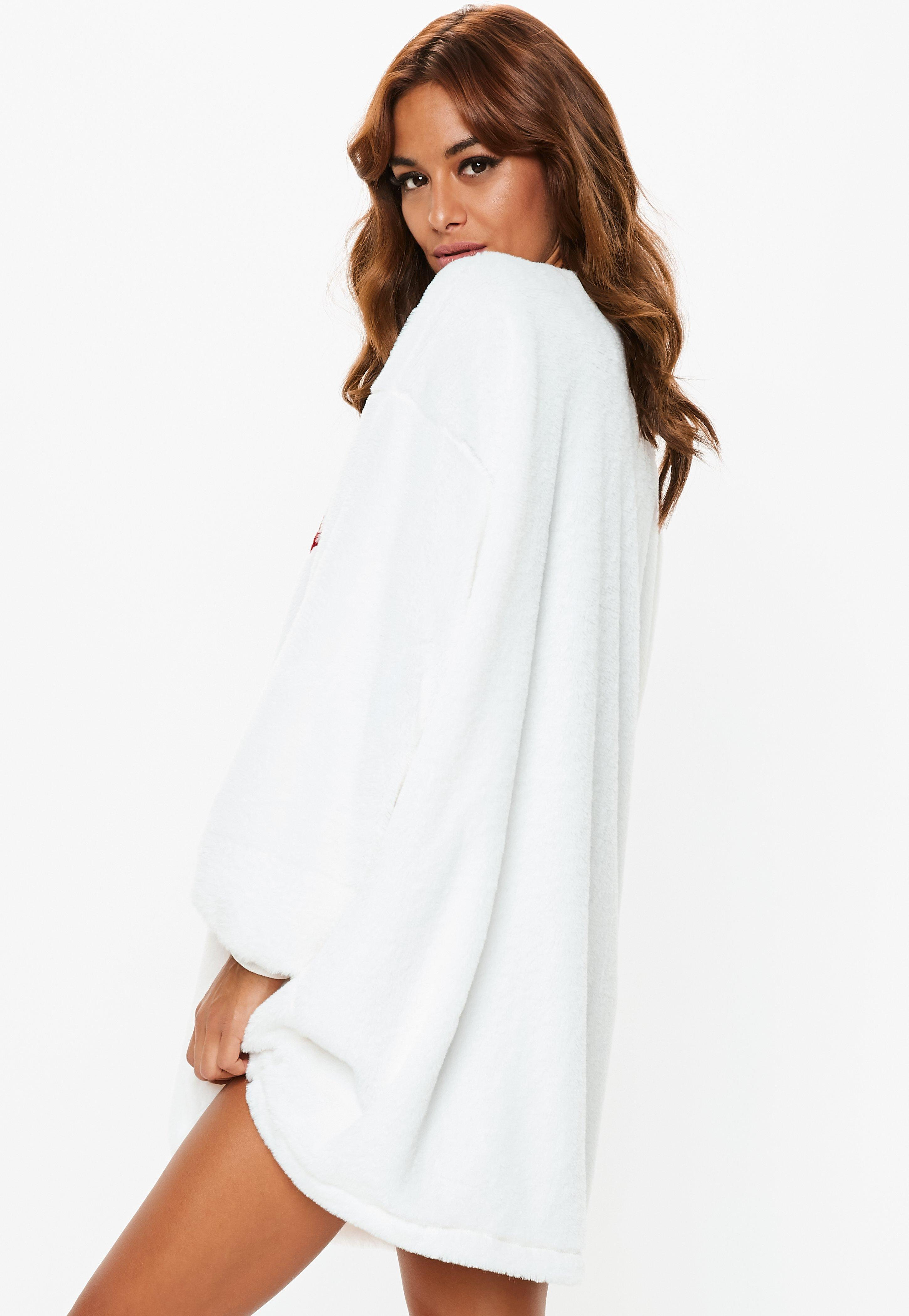 aa019a1a1c5f Lyst - Missguided Cream Oversized Fluffy Saturday Sweater Dress in White