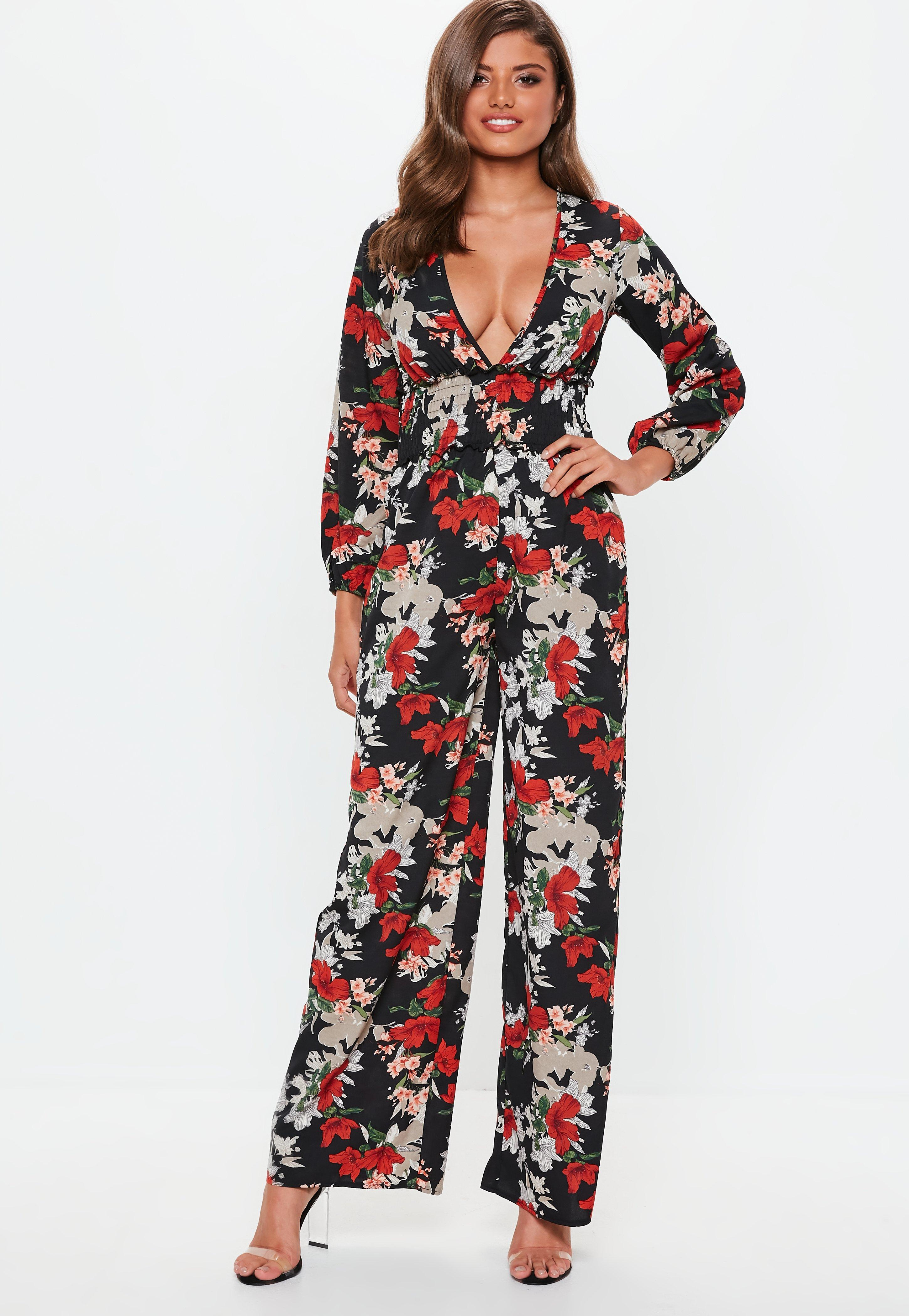 7192b18f10e Missguided - Black Floral Shirred Jumpsuit - Lyst. View fullscreen