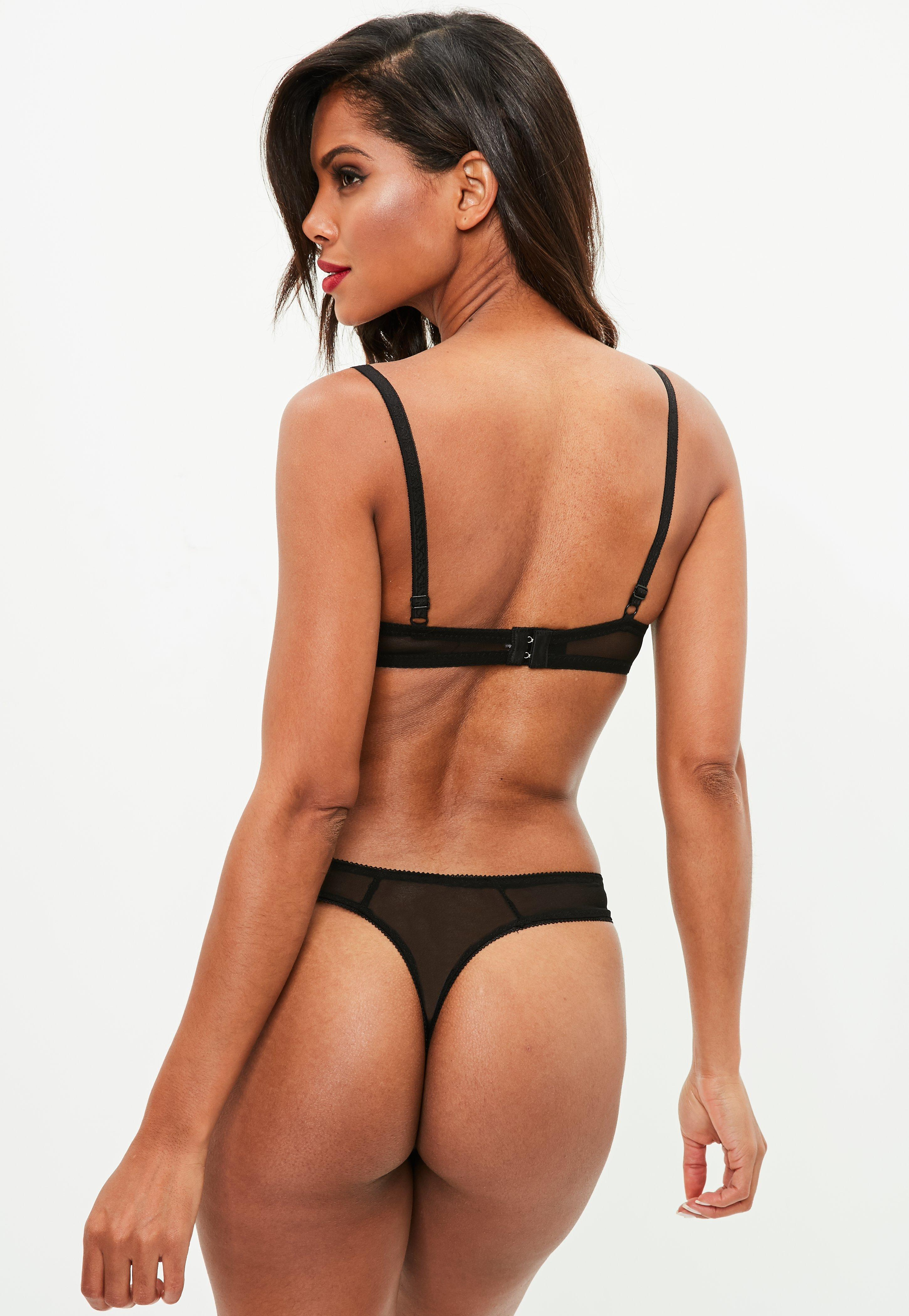 Lyst - Missguided Black Chiffon Pleat Lace Push Up Bra And Thong in ... 226525403