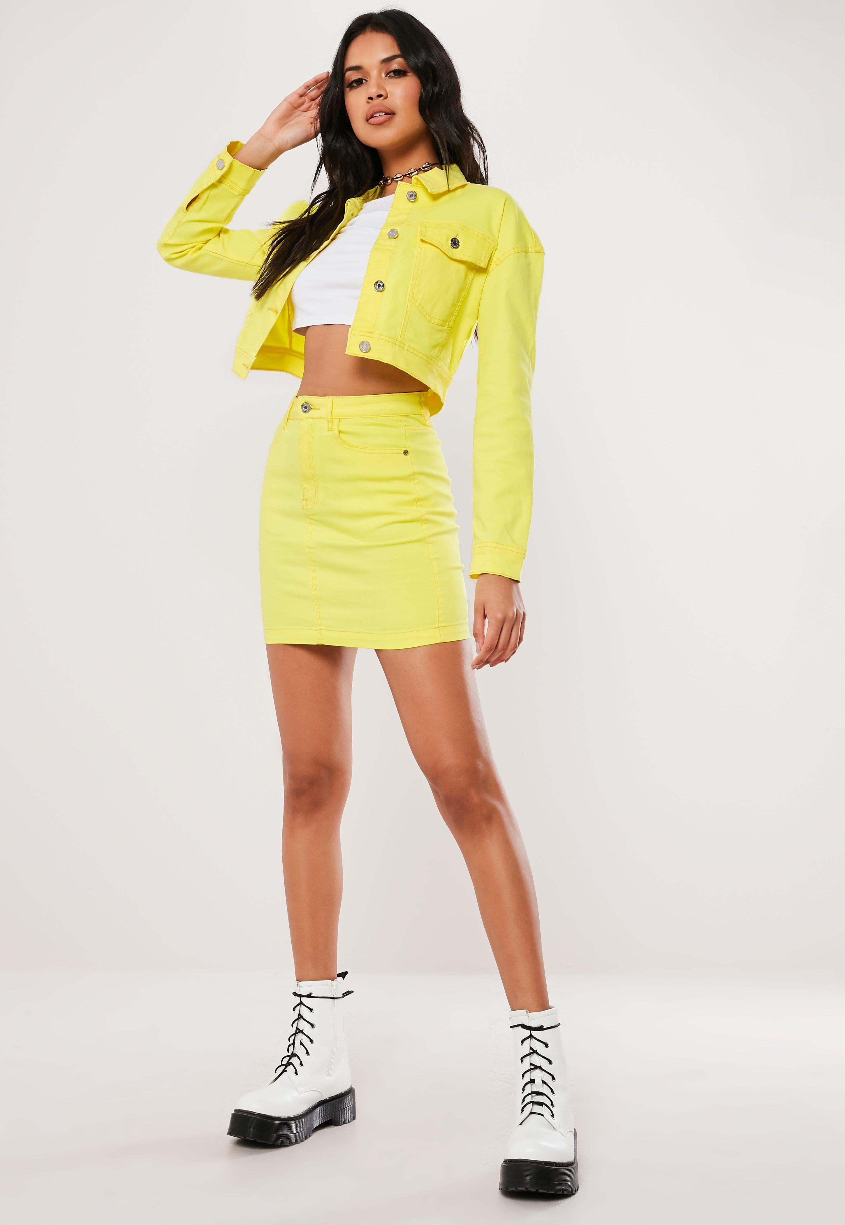 18371c3b50 Missguided Neon Yellow Co Ord Superstretch Denim Skirt in Yellow - Lyst