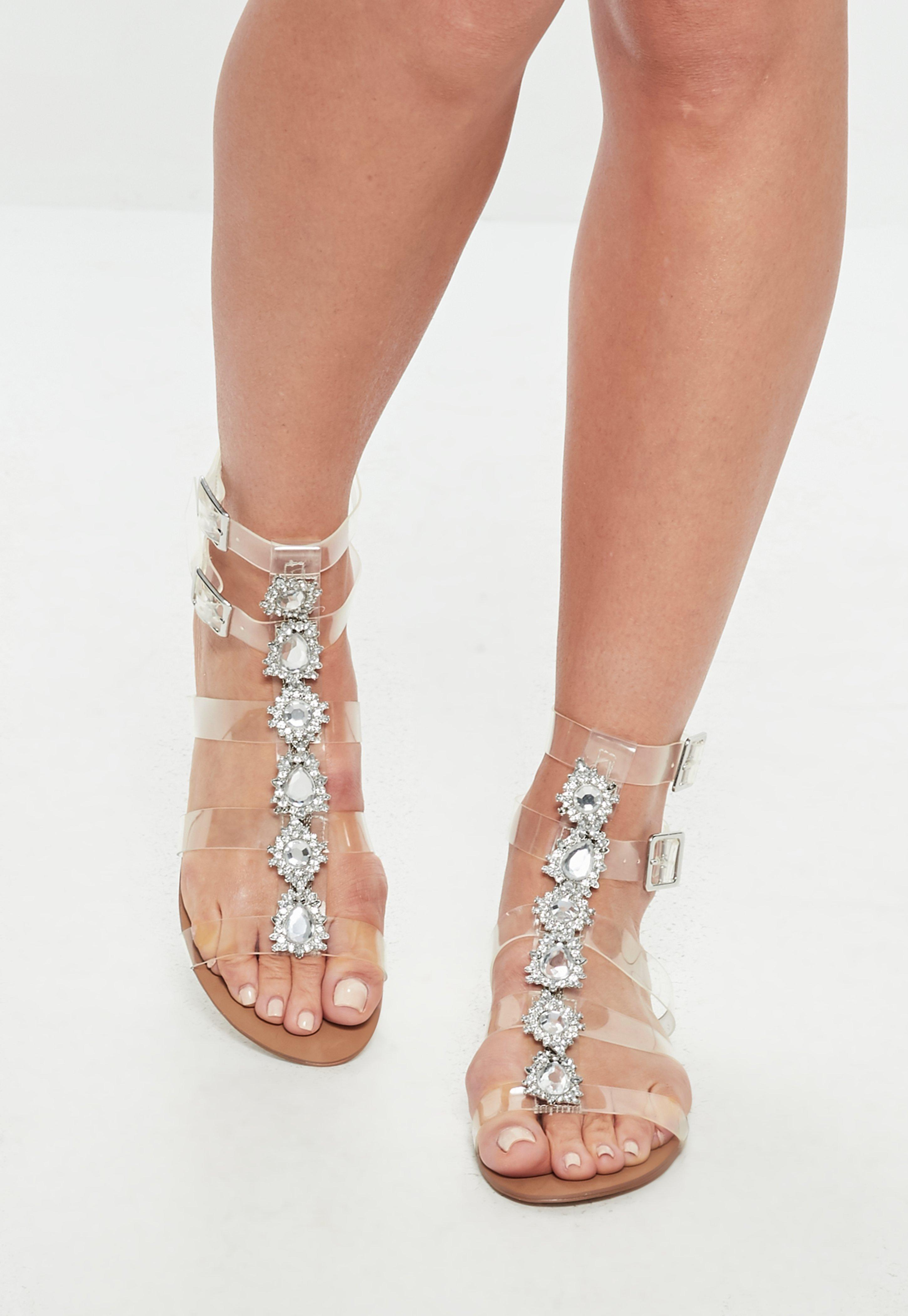 f856a275e Lyst - Missguided Clear Jewelled Gladiator Sandals