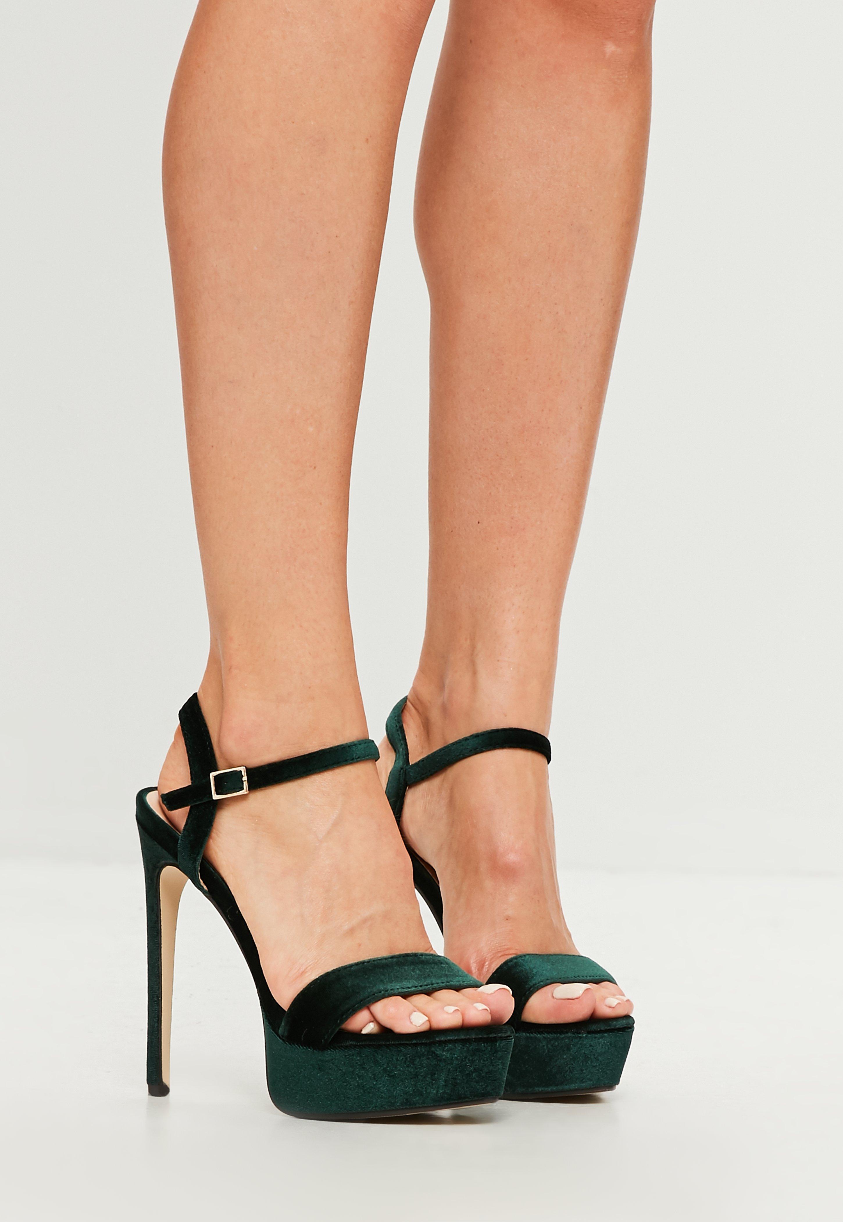 4a43f3c7de2 Lyst - Missguided Green Velvet Two Strap Platform Sandals in Green