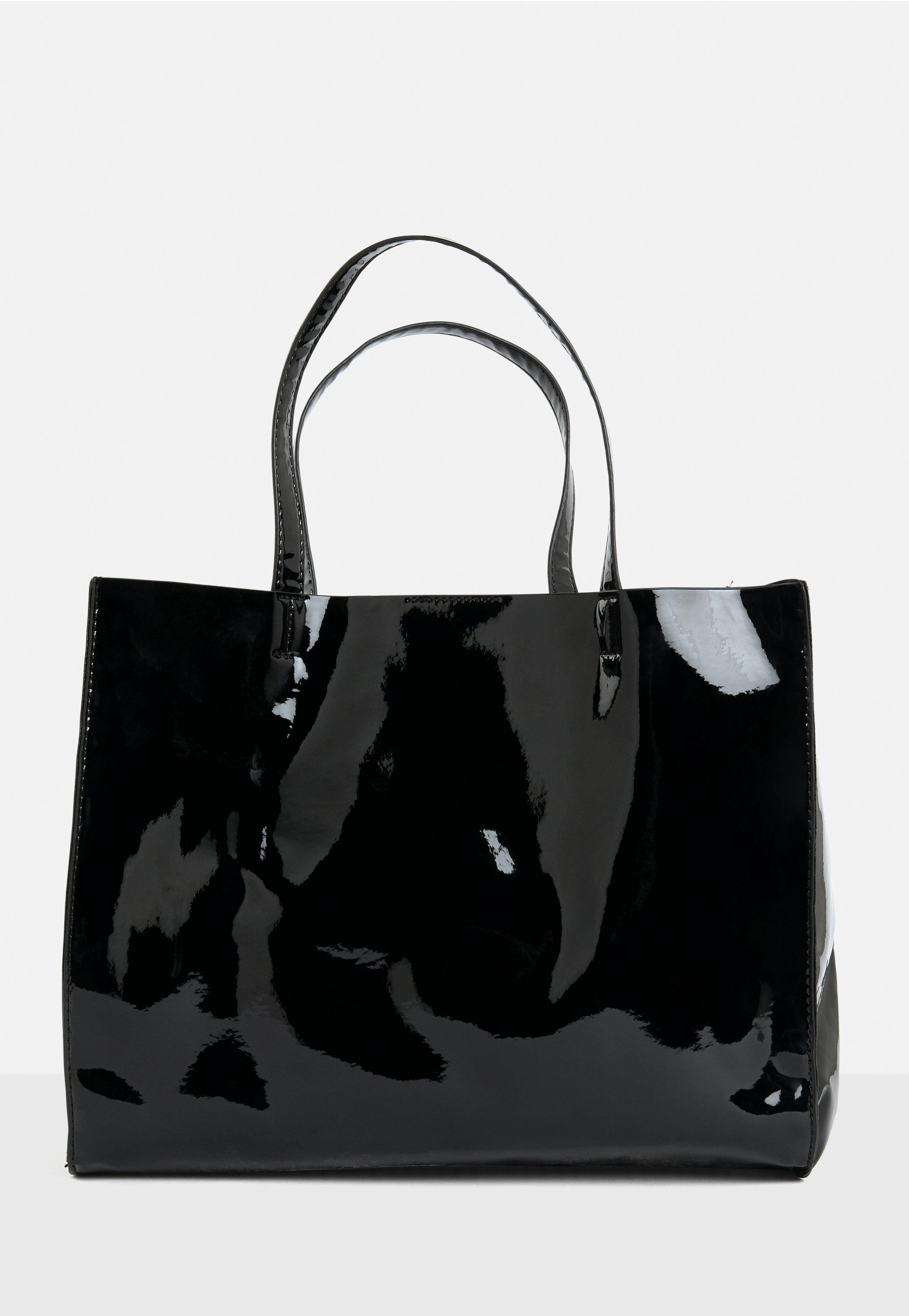 Lyst missguided black vinyl tote bag in black for Garage totes 76