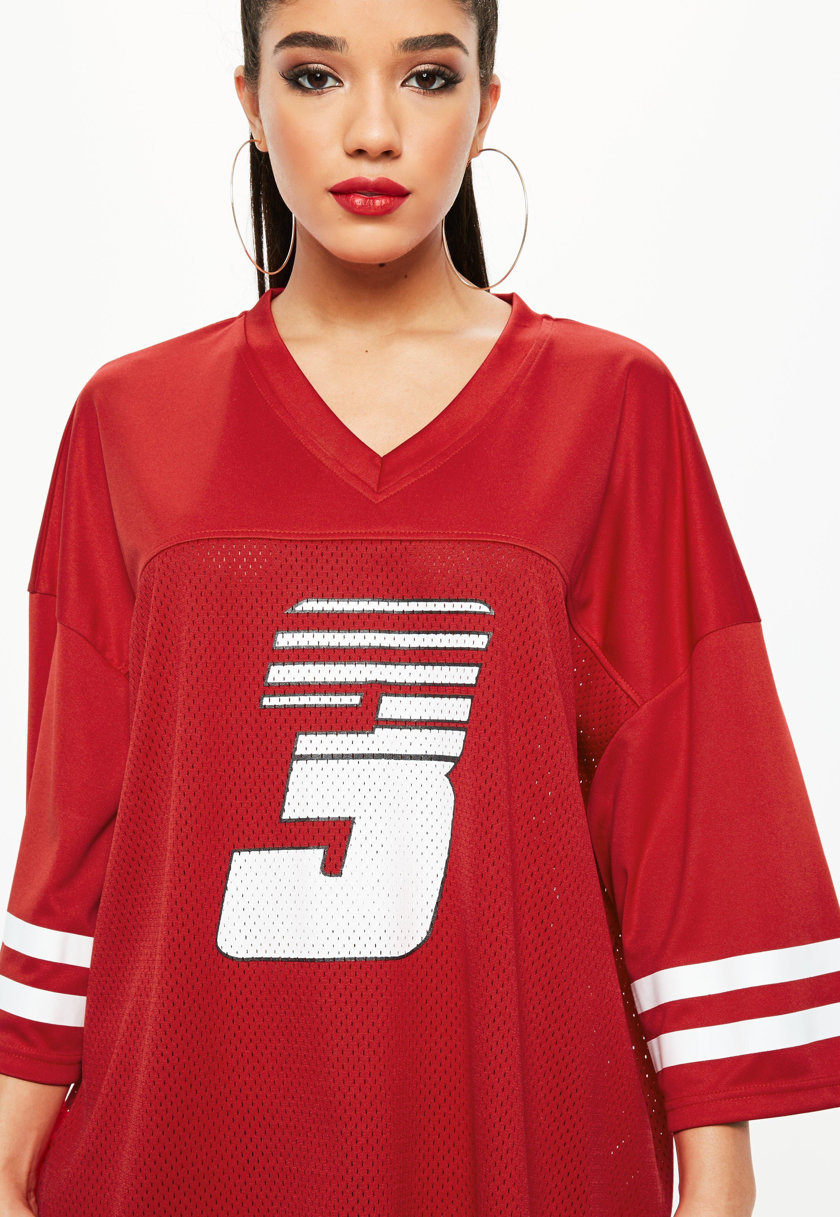 Lyst - Missguided Red American Football T Shirt Mesh Dress in Red 469fbe514