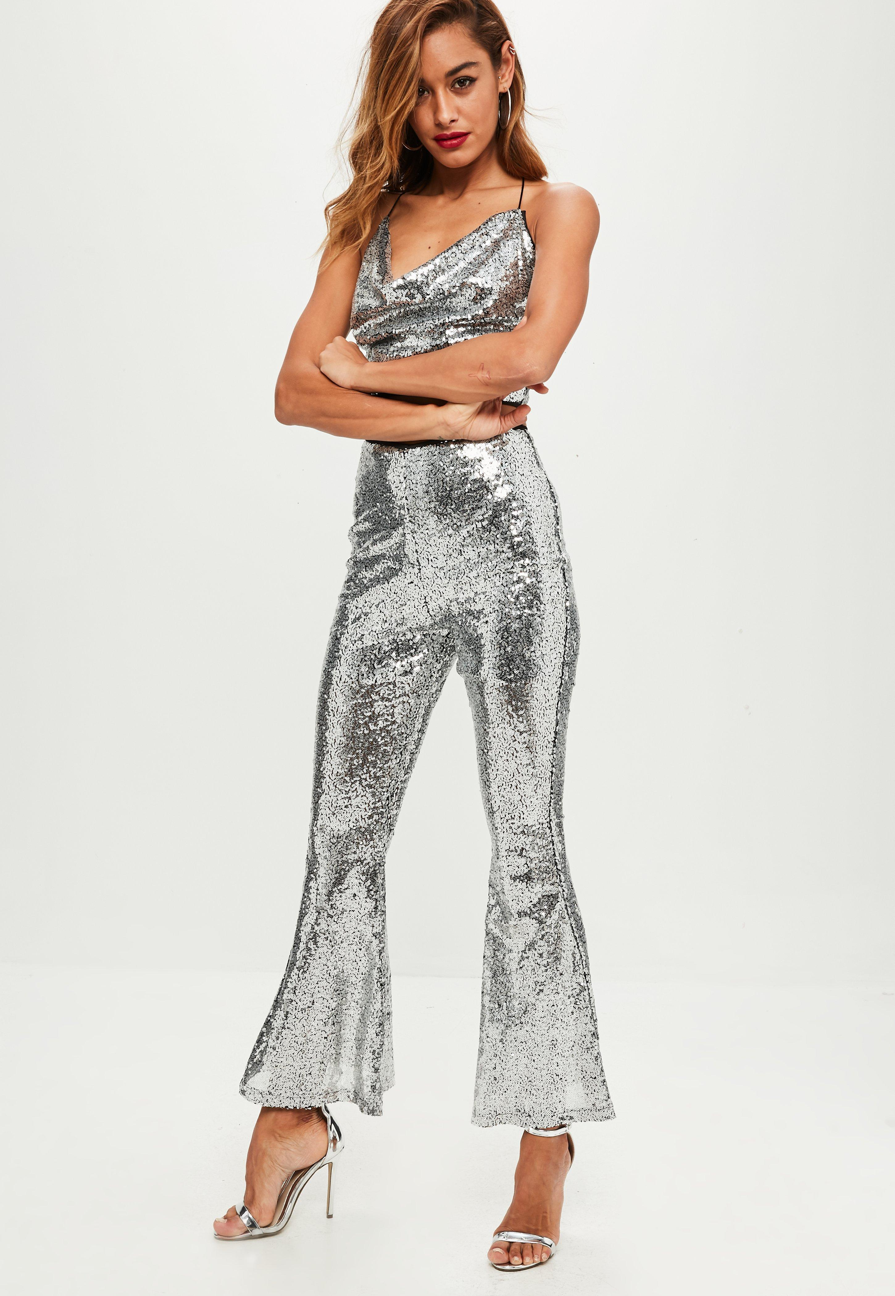Missguided Petite Silver Sequin Flare Trouser in Metallic ...