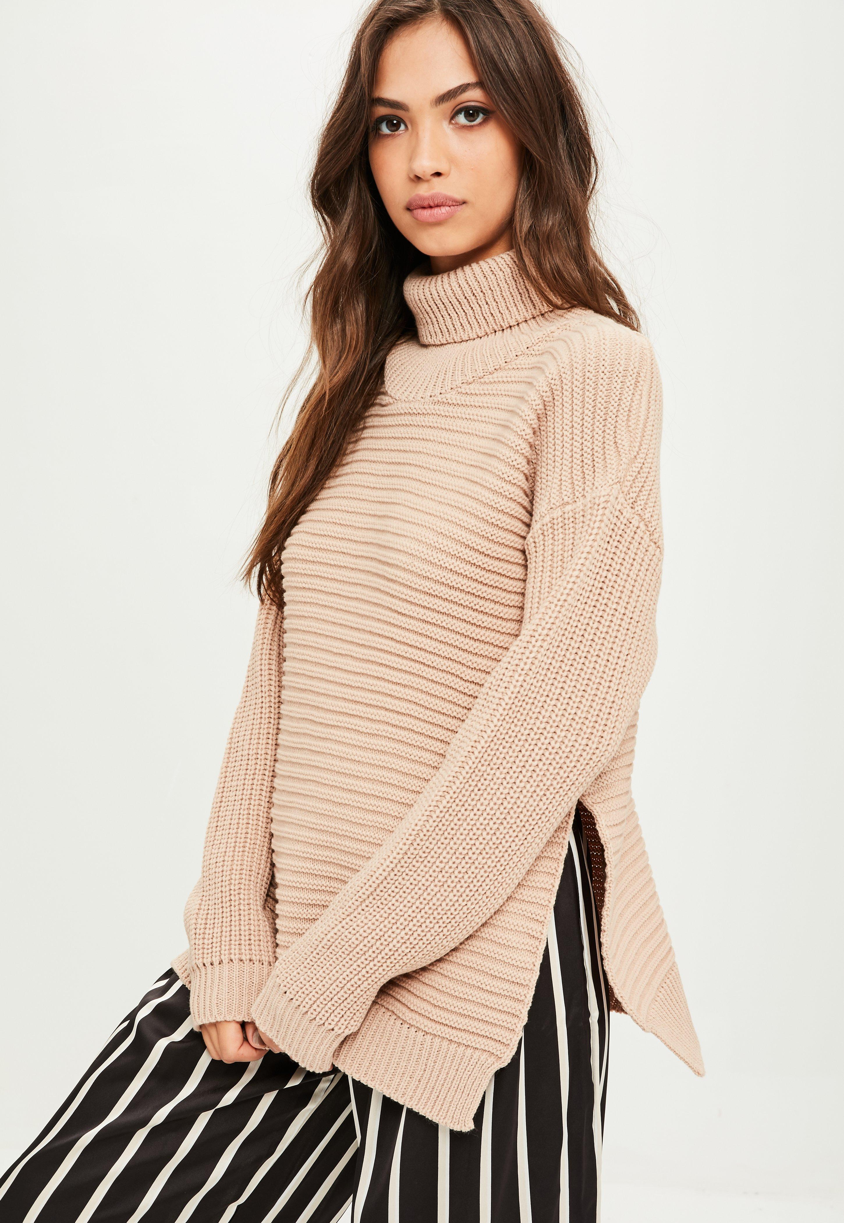 a561314f7 Missguided Tan Roll Neck Step Hem Knitted Sweater in Brown - Lyst