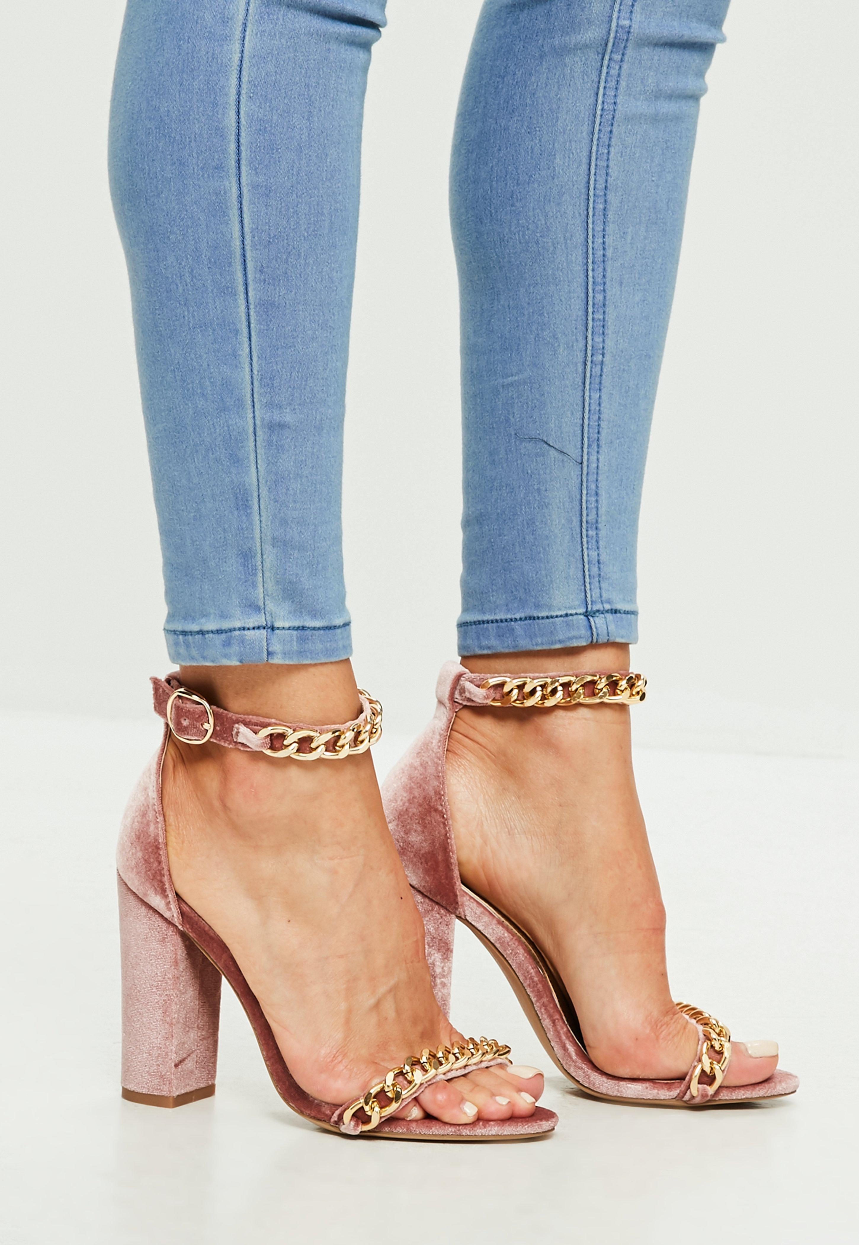 4cc42c4823df1f Lyst - Missguided Pink Chain Block Heeled Sandals in Pink