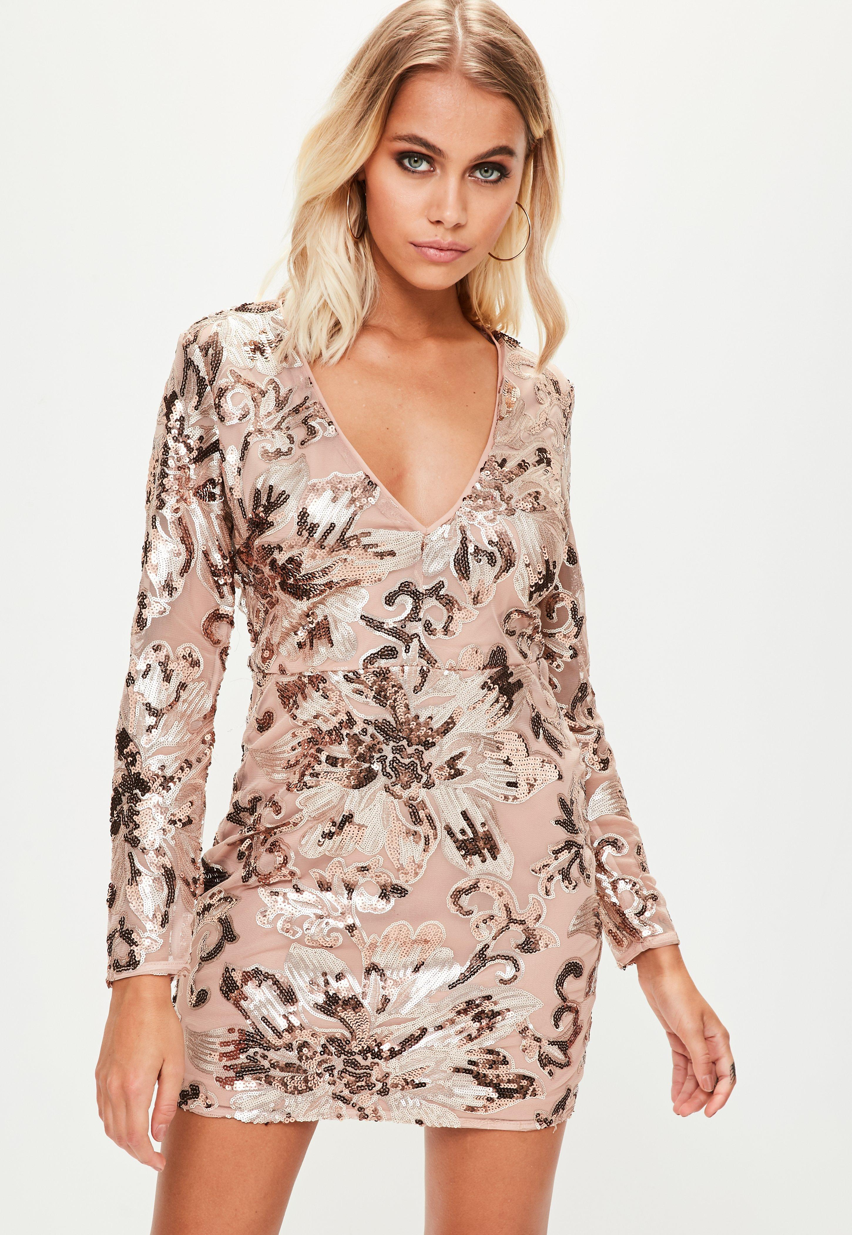 a7ed4883812 Lyst - Missguided Nude Sequin Long Sleeve Bodycon Dress in Natural