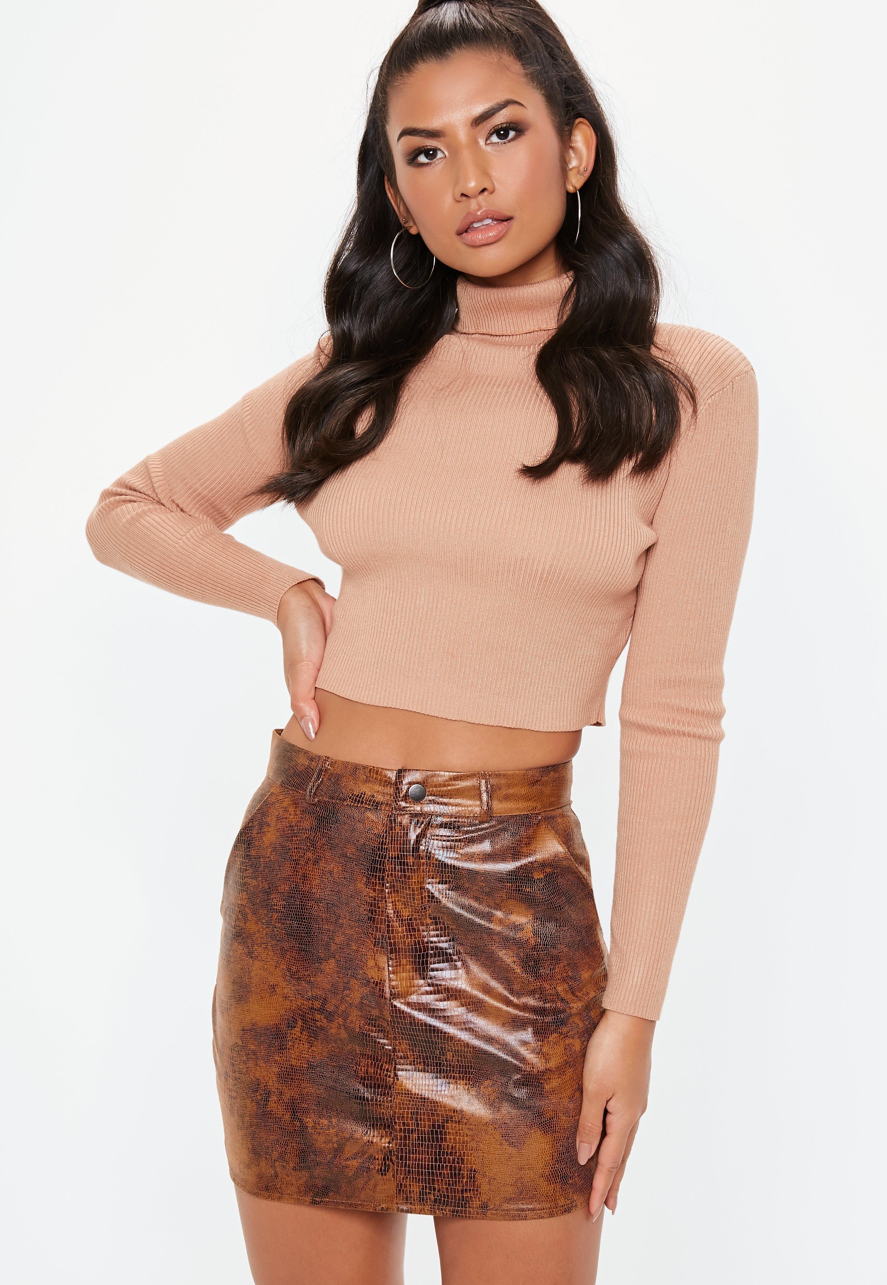 bf1eae60f Lyst - Missguided Brown Snake Skin Pocket Detail Mini Skirt in Brown
