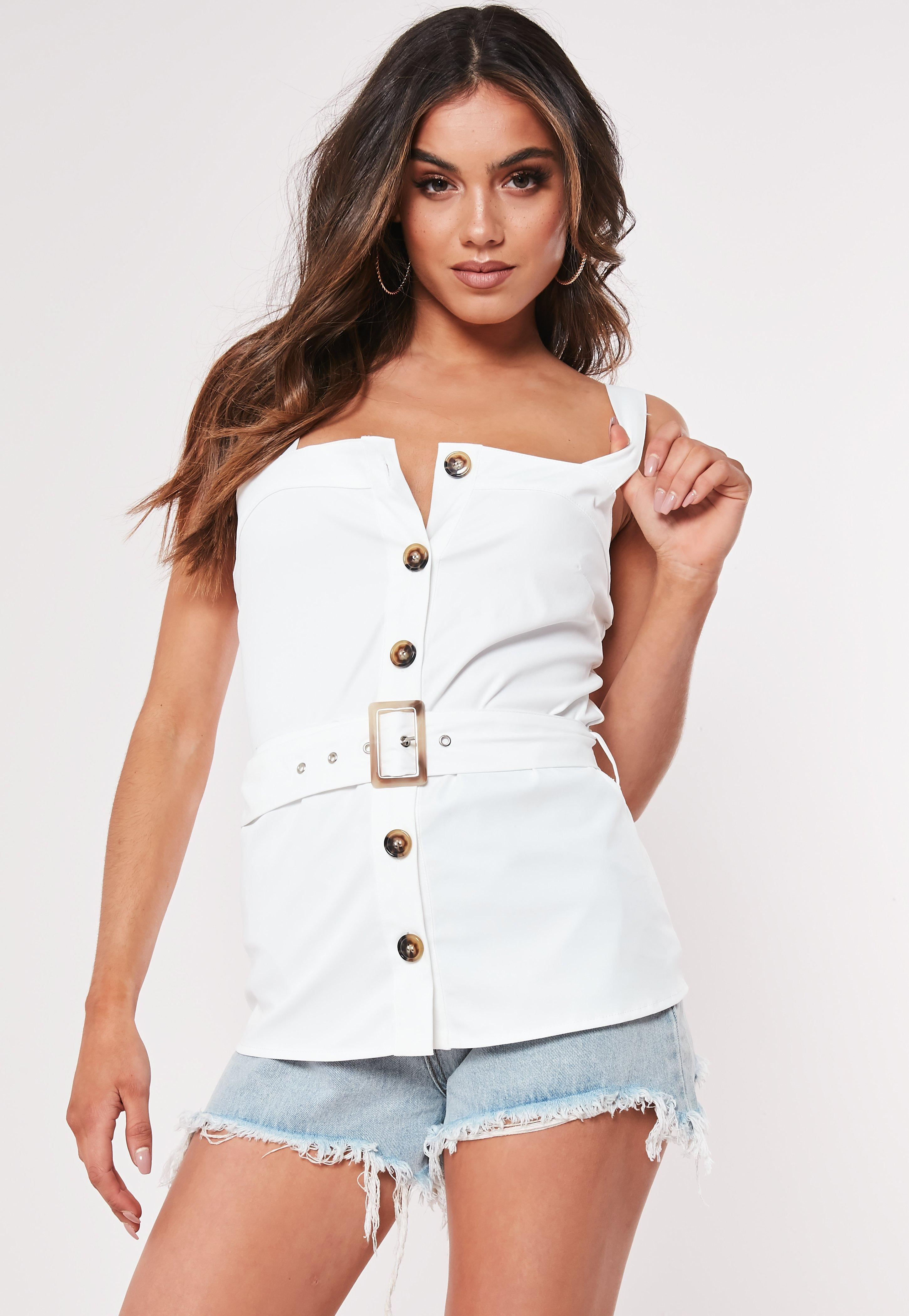 d2da68d43e535 Lyst - Missguided White Belted Horn Button Front Cami Top in White