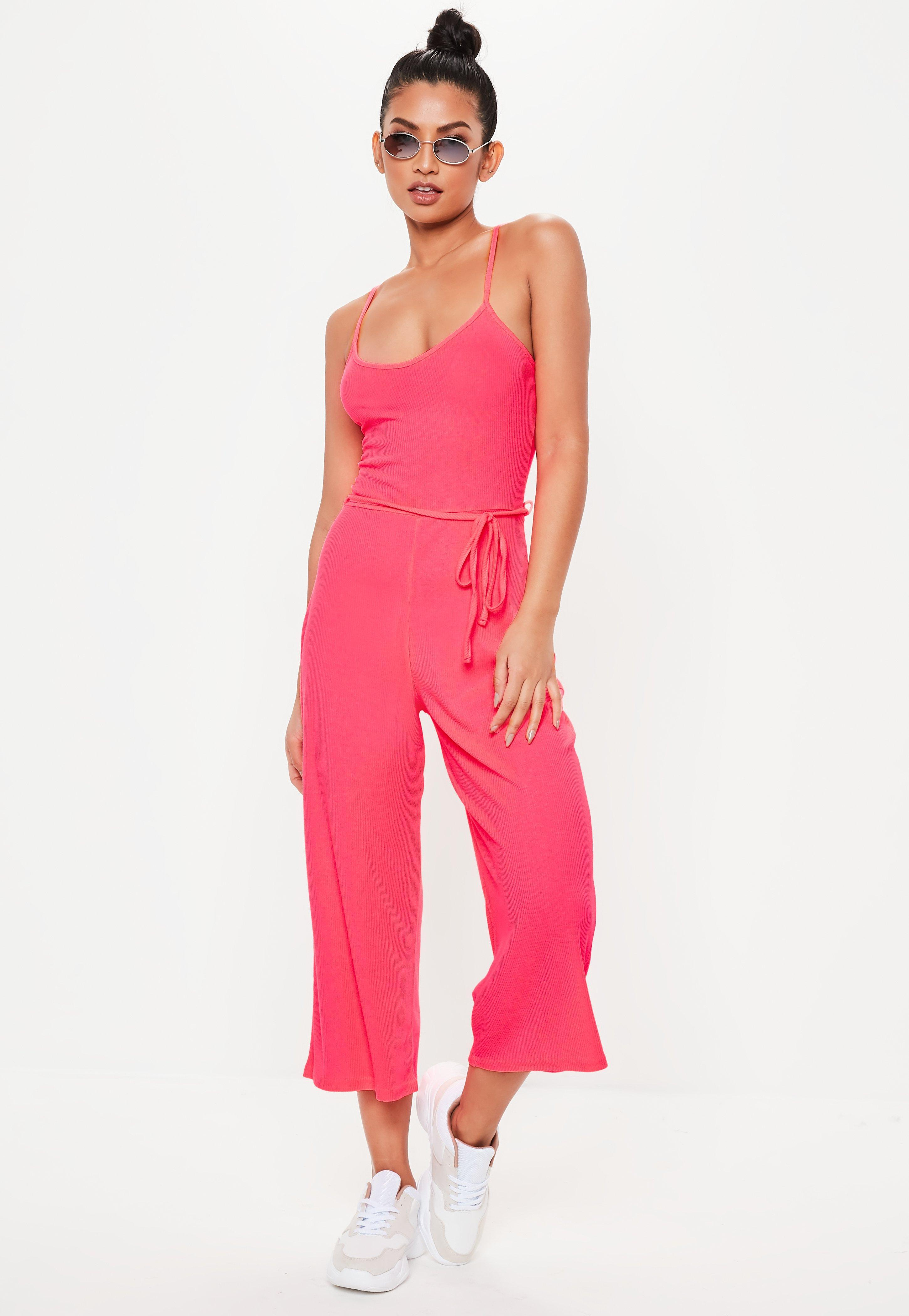 a8eae60e7 Lyst - Missguided Neon Pink Rib Cami Culotte Jumpsuit in Pink