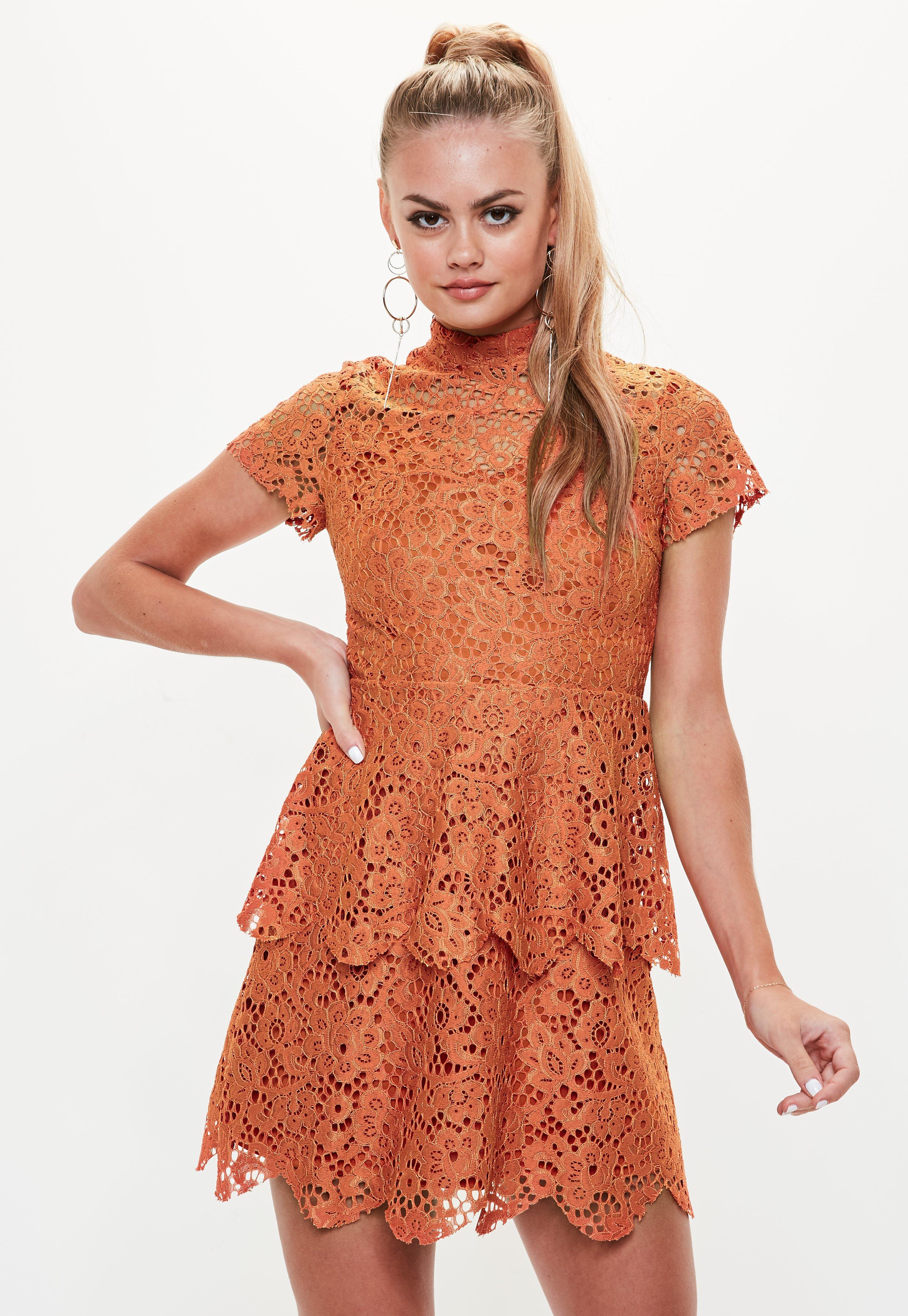 50c68c987aa3 Missguided Orange Short Sleeve Lace Double Layer Skater Dress in ...