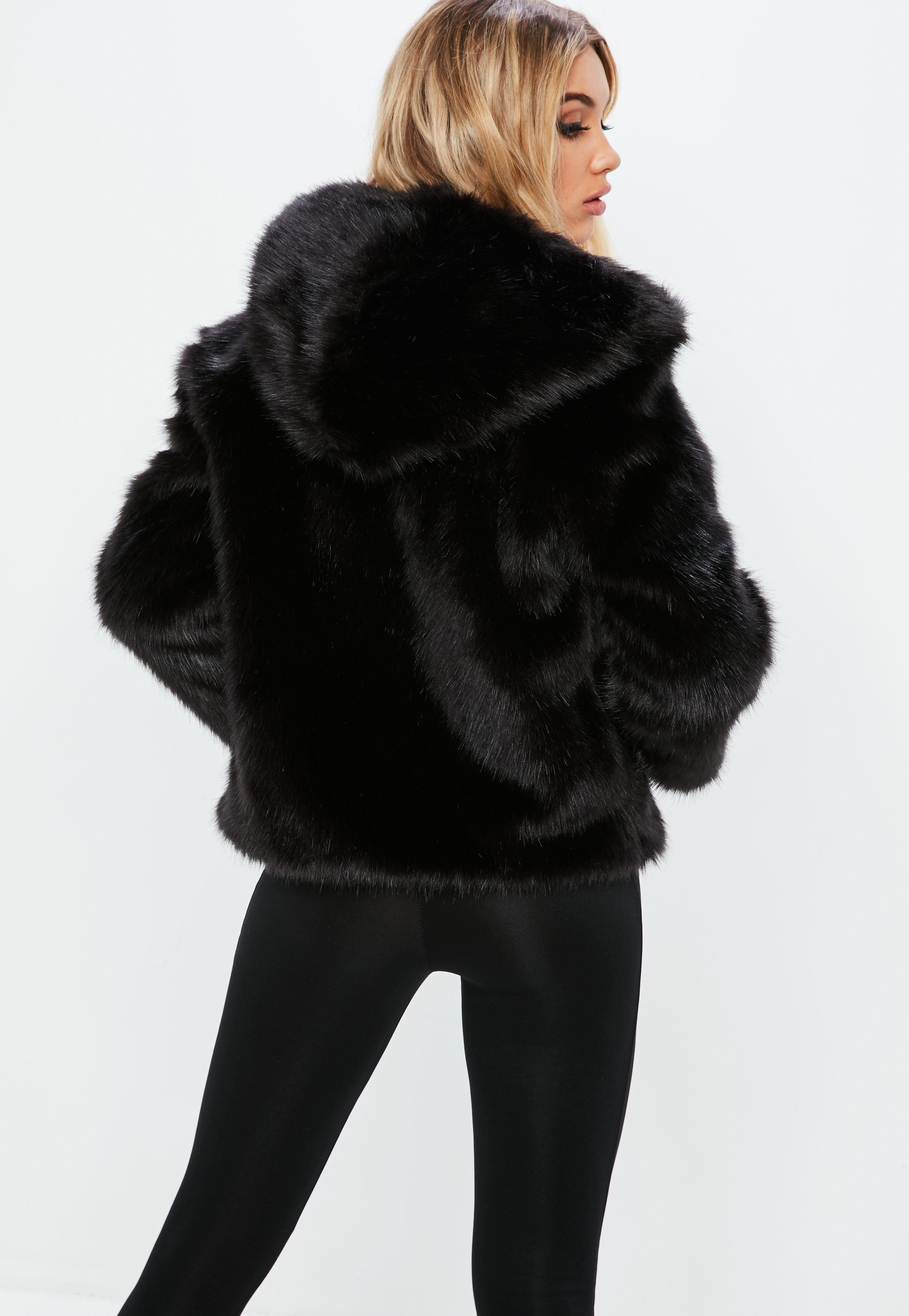 8e5e41fc4 Missguided Fanny Lyckman X Black Hooded Faux Fur Jacket in Black - Lyst