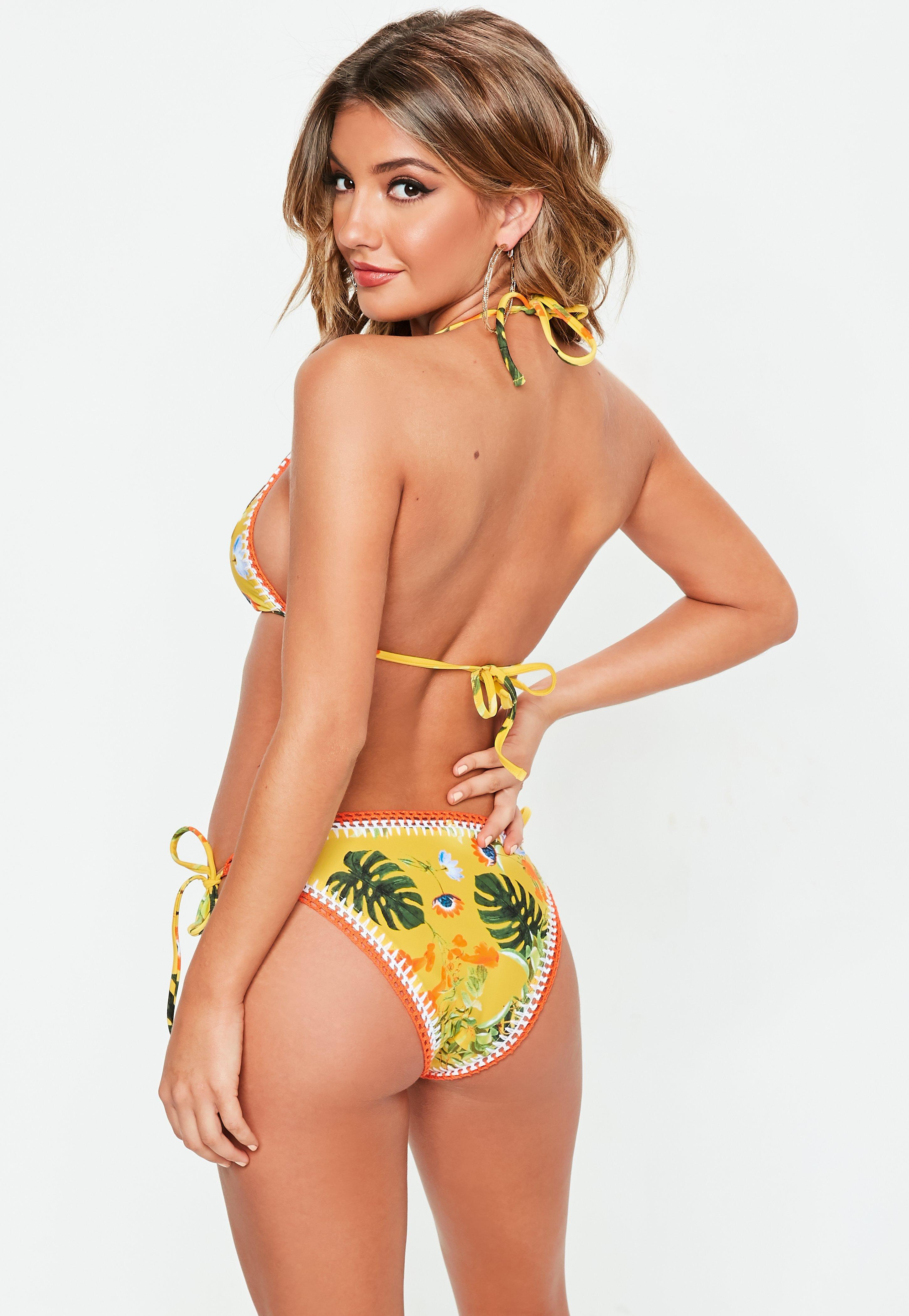 eefbaf51489c2 Missguided - Yellow And Khaki Reversible Crochet Triangle Bikini Set - Lyst.  View fullscreen
