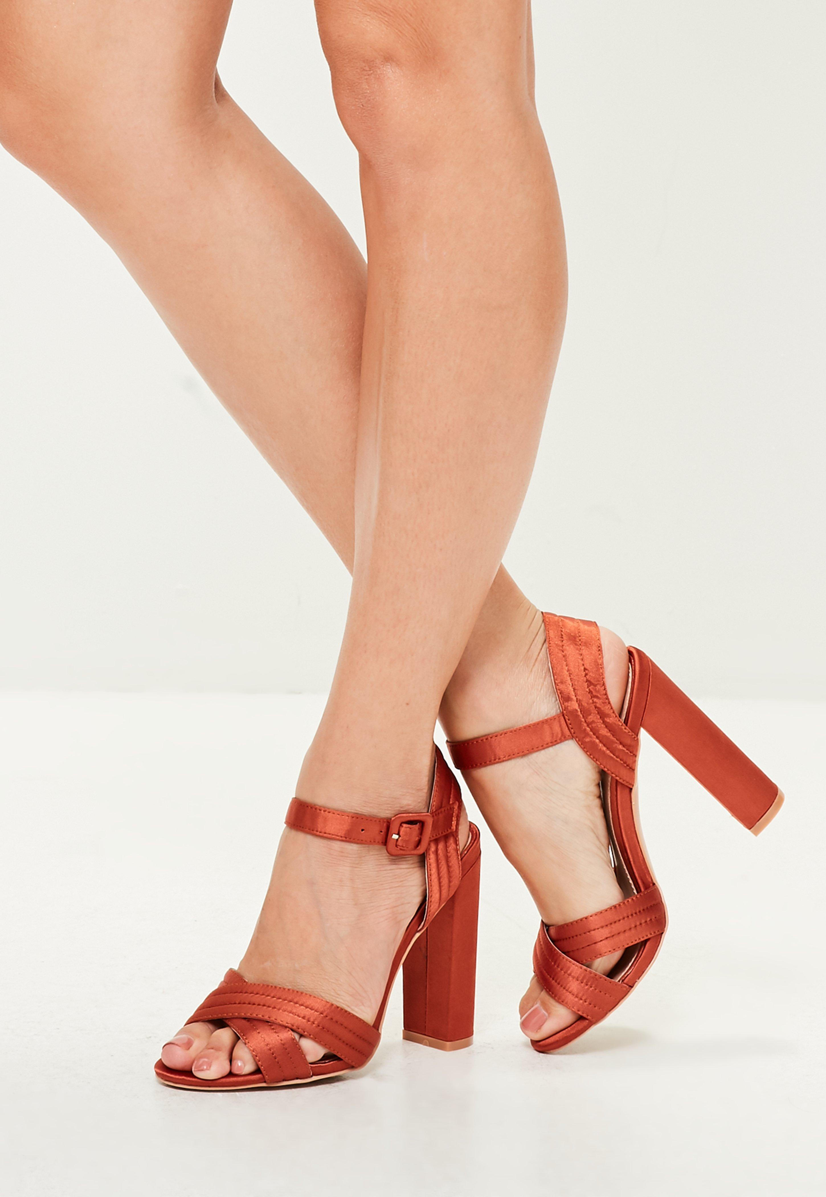 65fb0f8d8f8 Lyst - Missguided Orange Satin Cross Strap Heeled Sandal in Orange