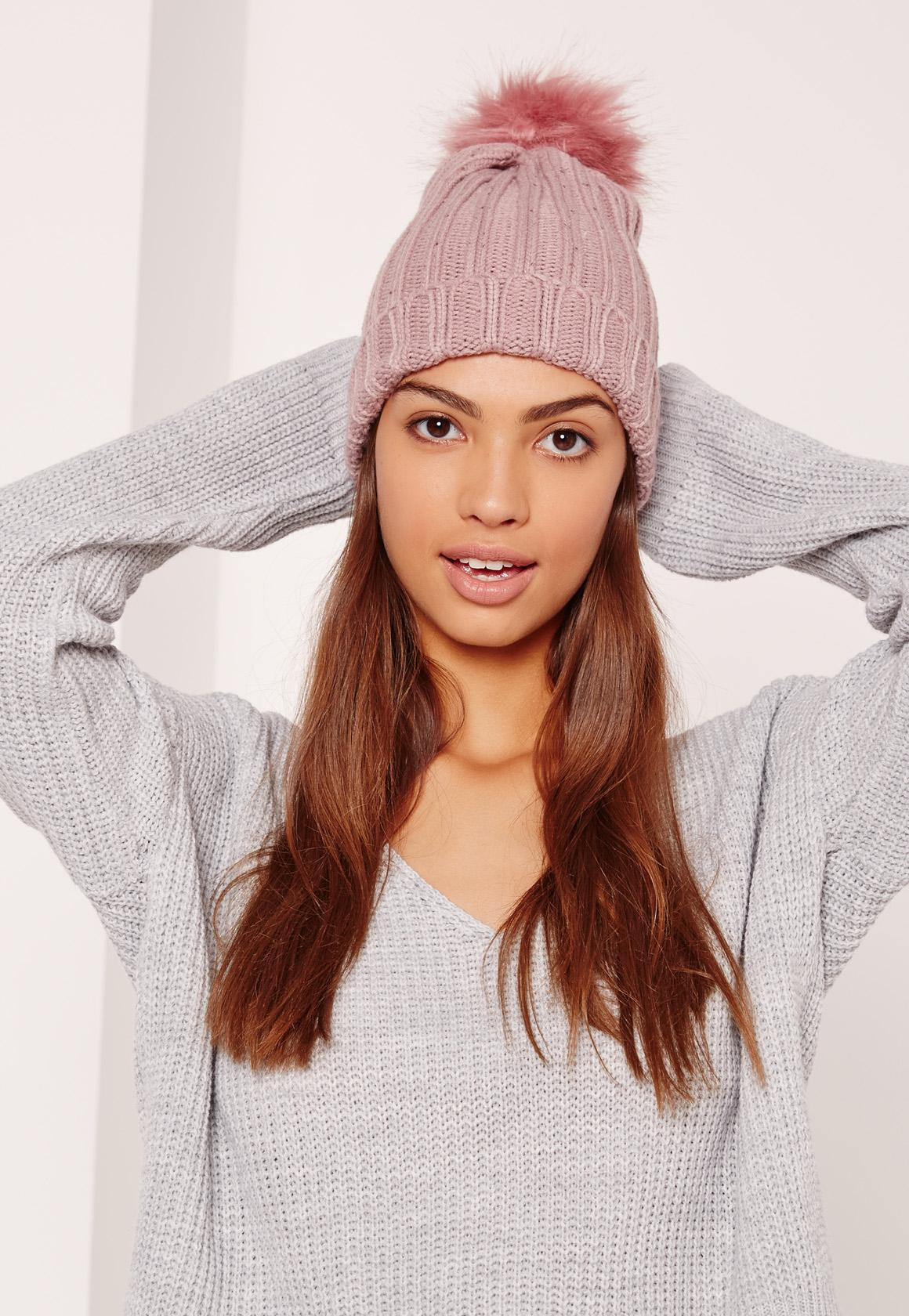 00e2957083e Lyst - Missguided Pink Metallic Knit Faux Fur Pom Pom Beanie in Pink
