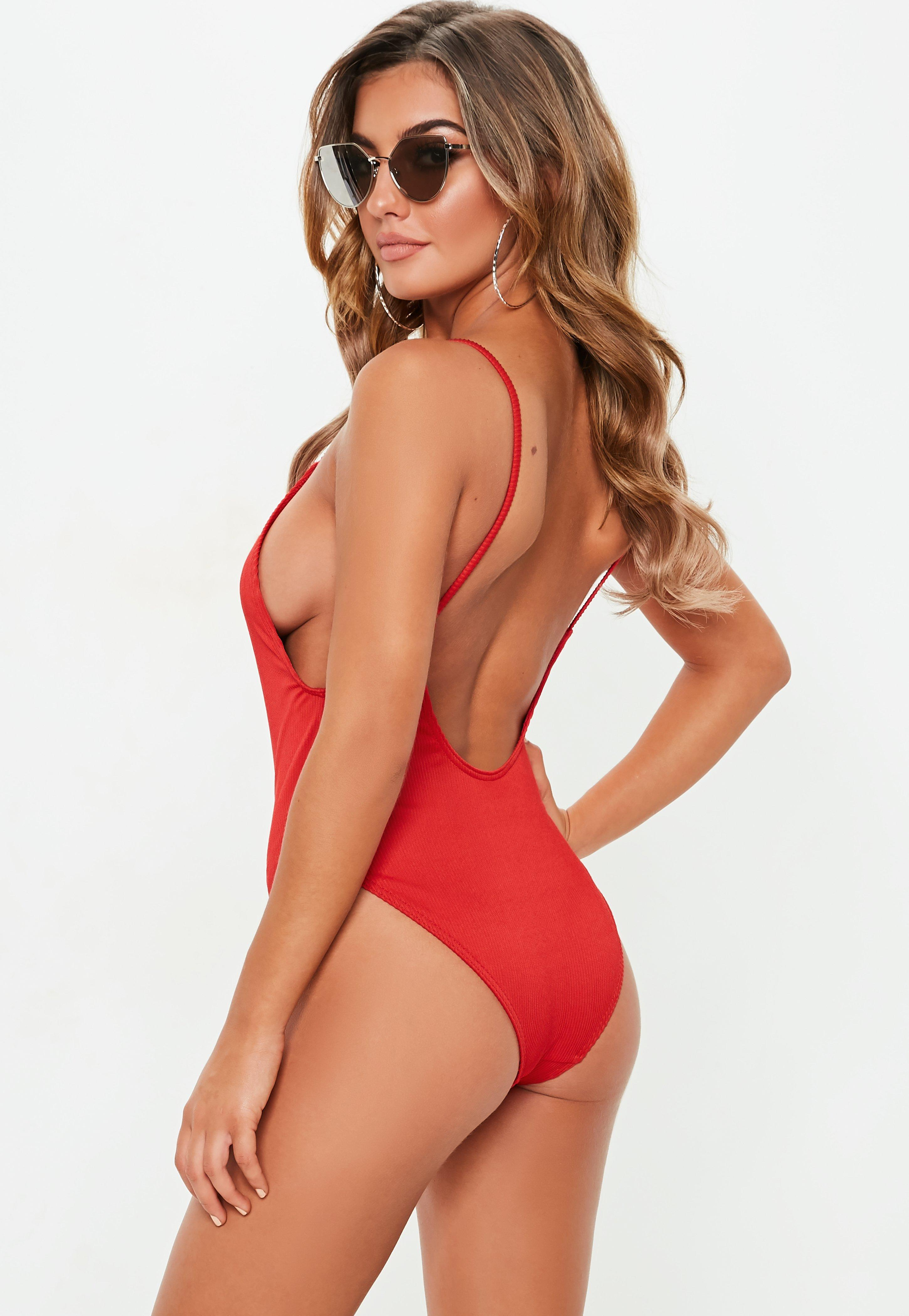 3d2198ea4cb Missguided - Red Ribbed Zipper Front High Leg Swimsuit - Lyst. View  fullscreen