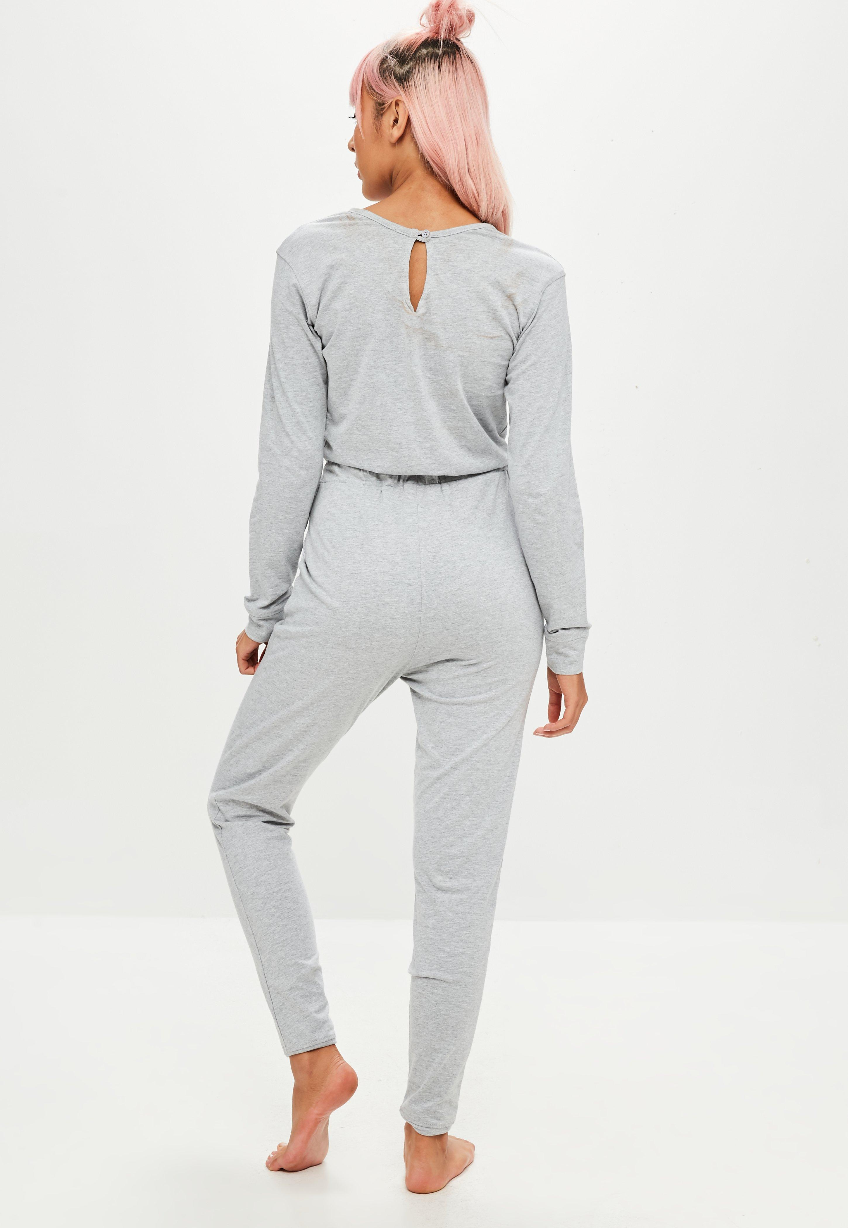 0013329956c Lyst - Missguided Grey Long Sleeve Jumpsuit in Gray