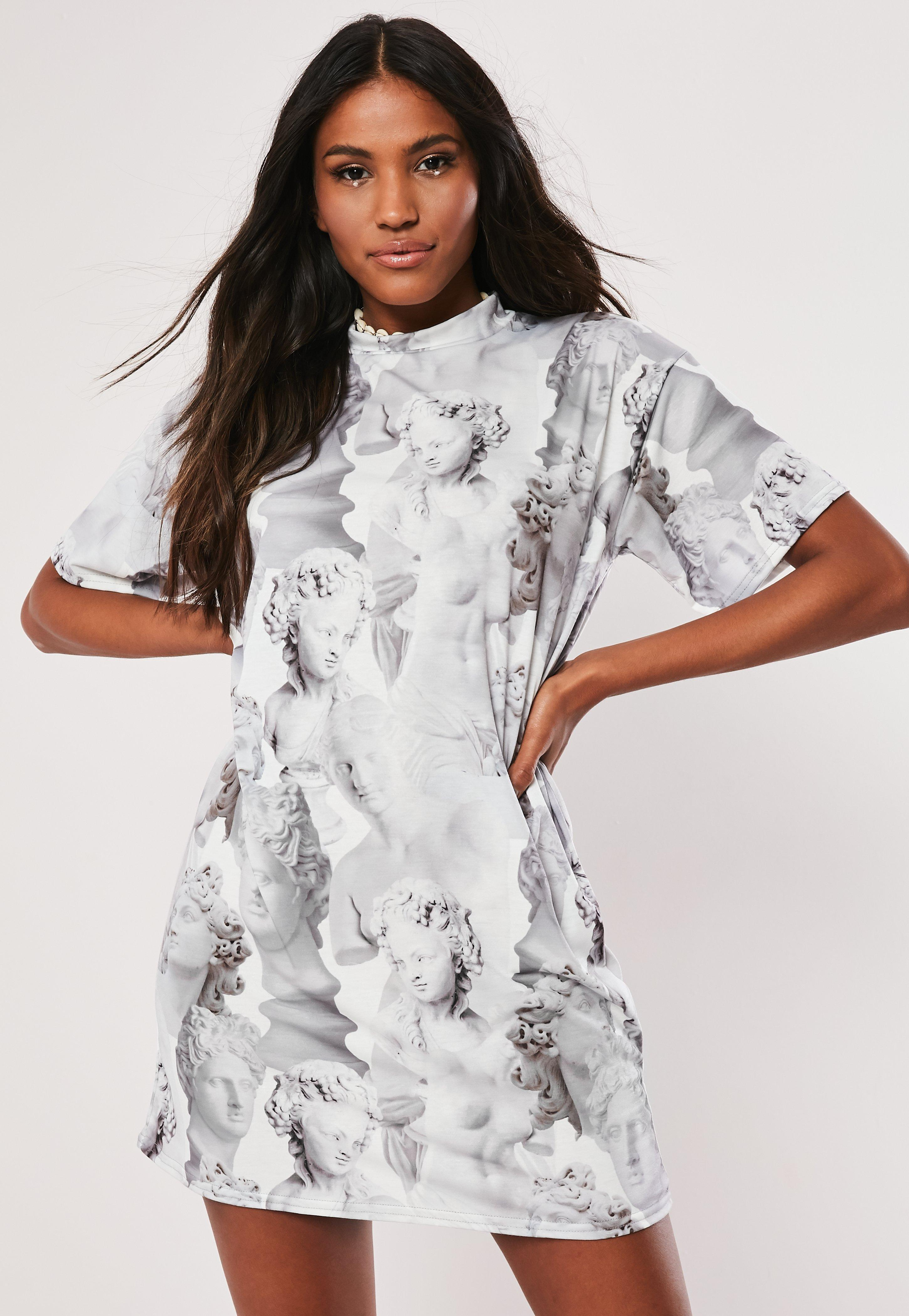 855bb07570b Lyst - Missguided Grey Statue Graphic Print T Shirt Dress in Gray