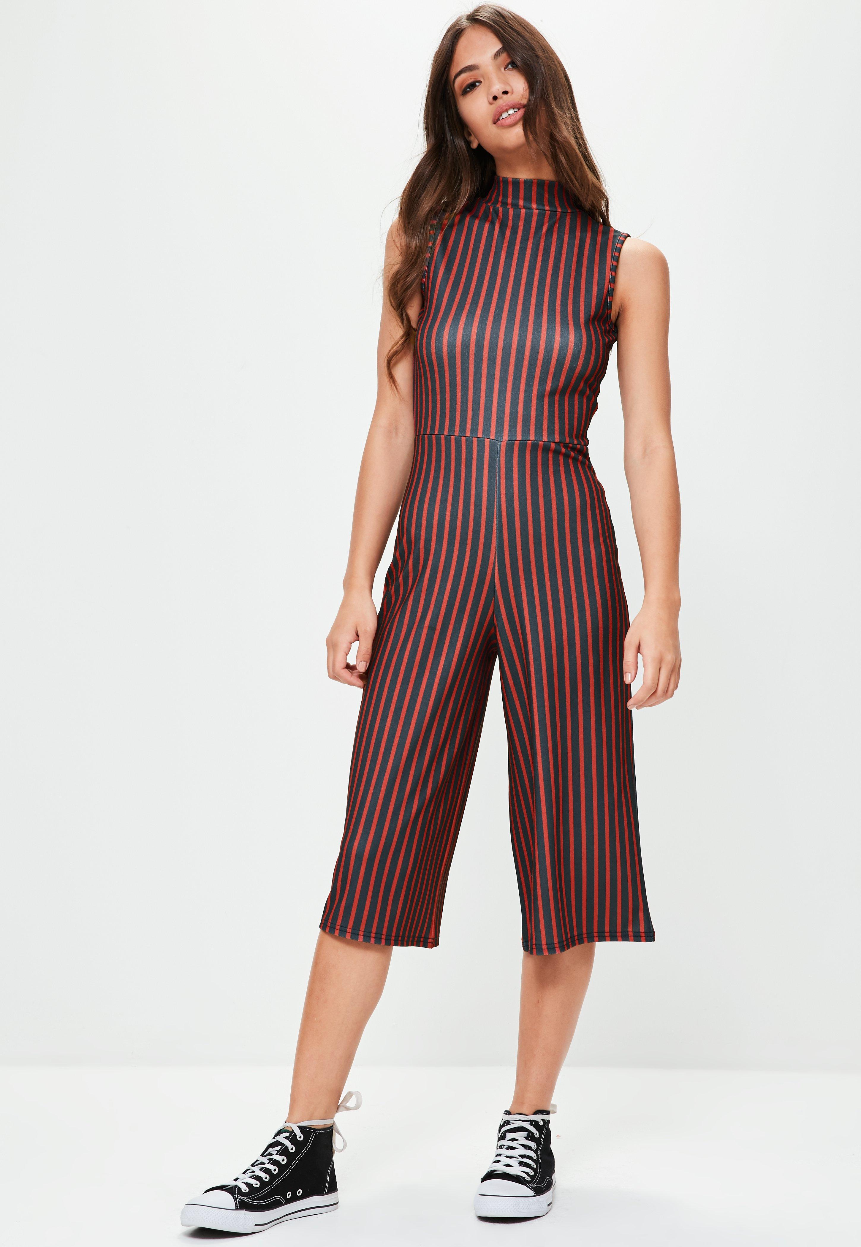 0b95166605d Lyst - Missguided Black High Neck Striped Culotte Jumpsuit in Black