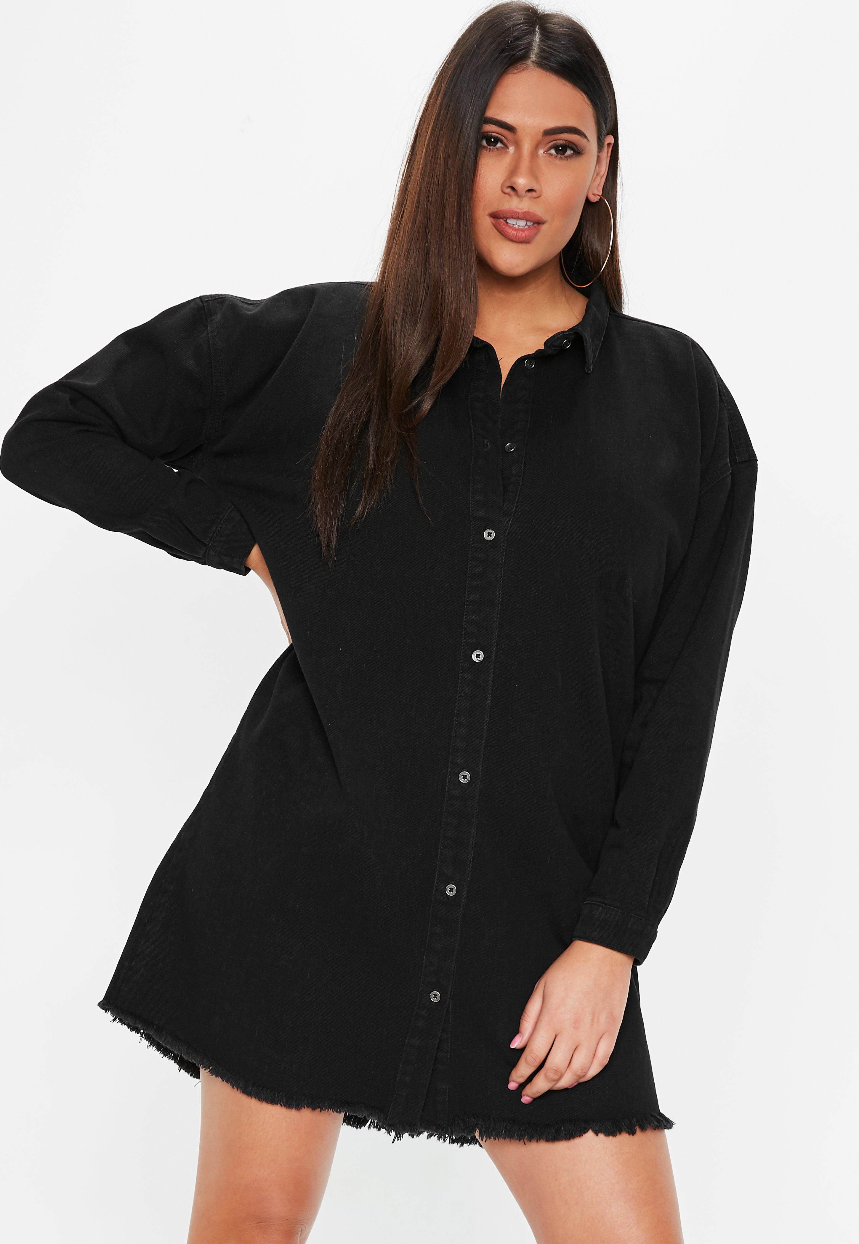 1052083e349 Plus Size Oversized Denim Shirt Dress – EDGE Engineering and ...