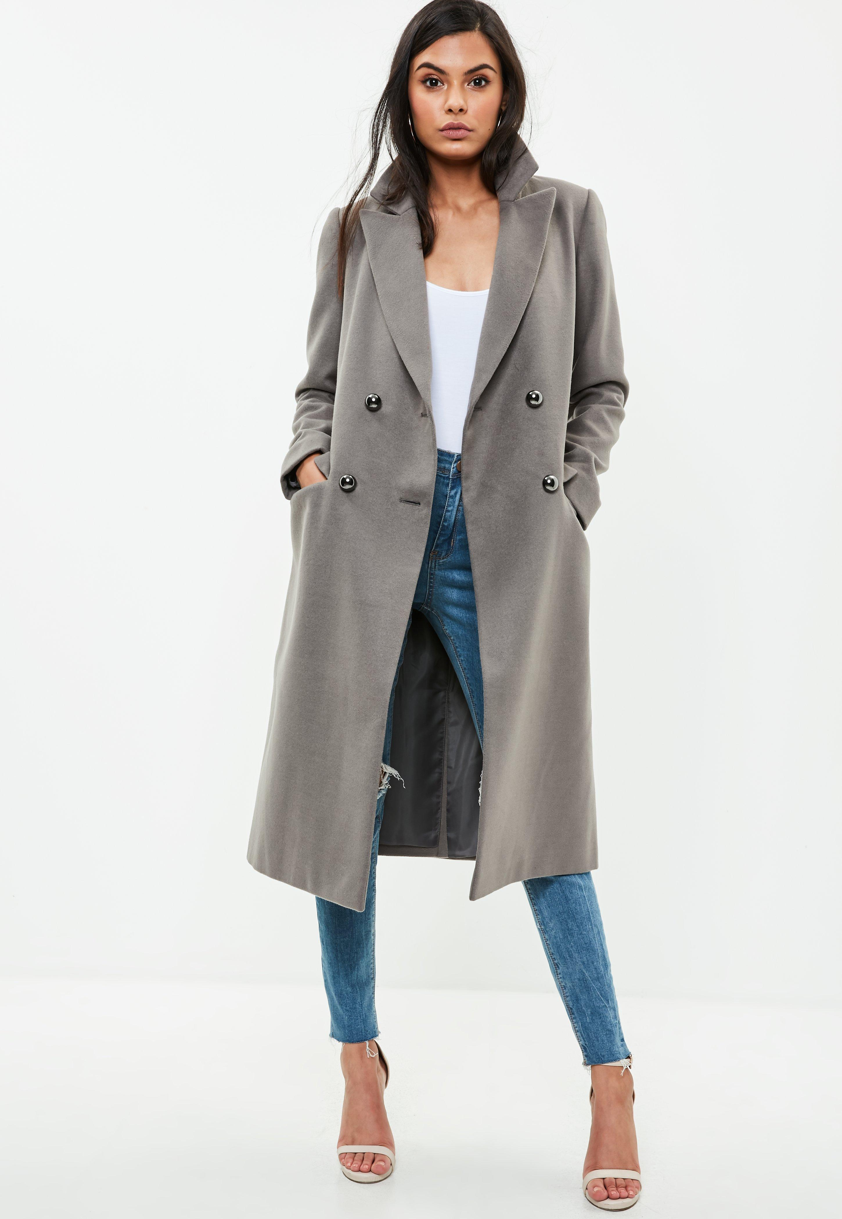 d28aedd489f6 Lyst - Missguided Grey Long Faux Wool Military Coat in Gray
