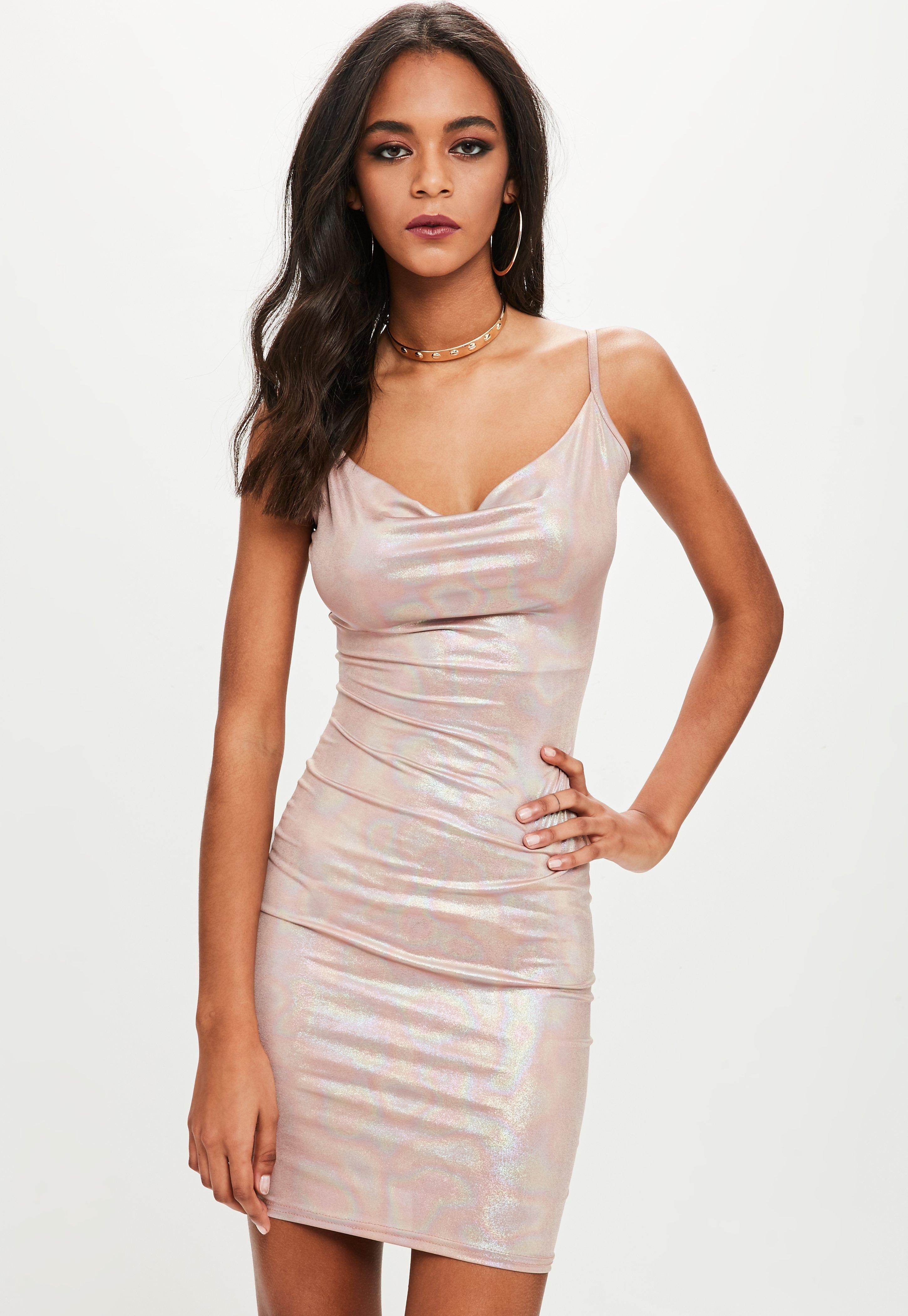 032b11abccbe6 Lyst - Missguided Petite Pink Slinky Cowl Neck Metallic Dress in Pink