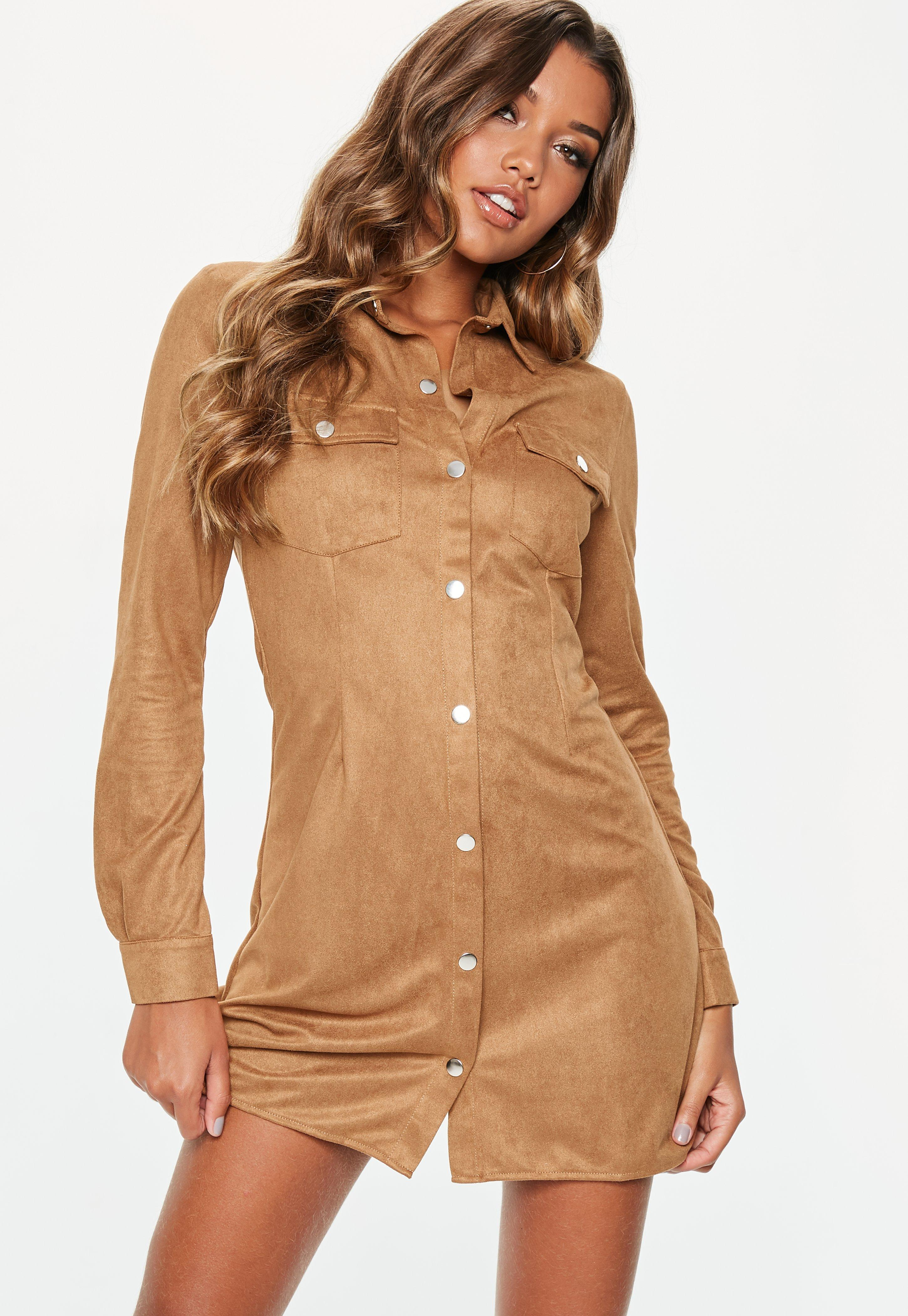 dbf61097b46 Lyst - Missguided Tall Tan Faux Suede Popper Front Skater Dress in Brown