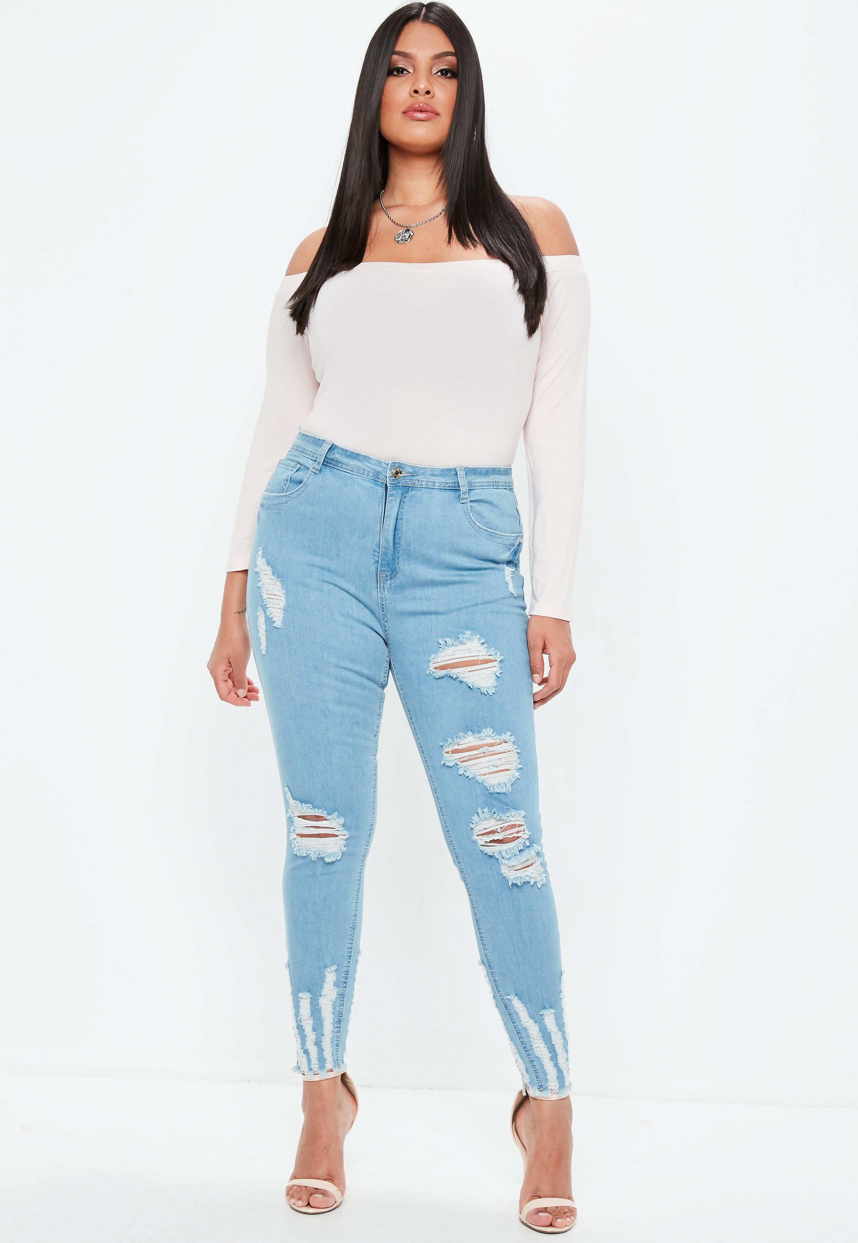 eb63846c3bb Missguided - Plus Size Blue Sinner Highwaisted Chew Hem Skinny Jeans -  Lyst. View fullscreen