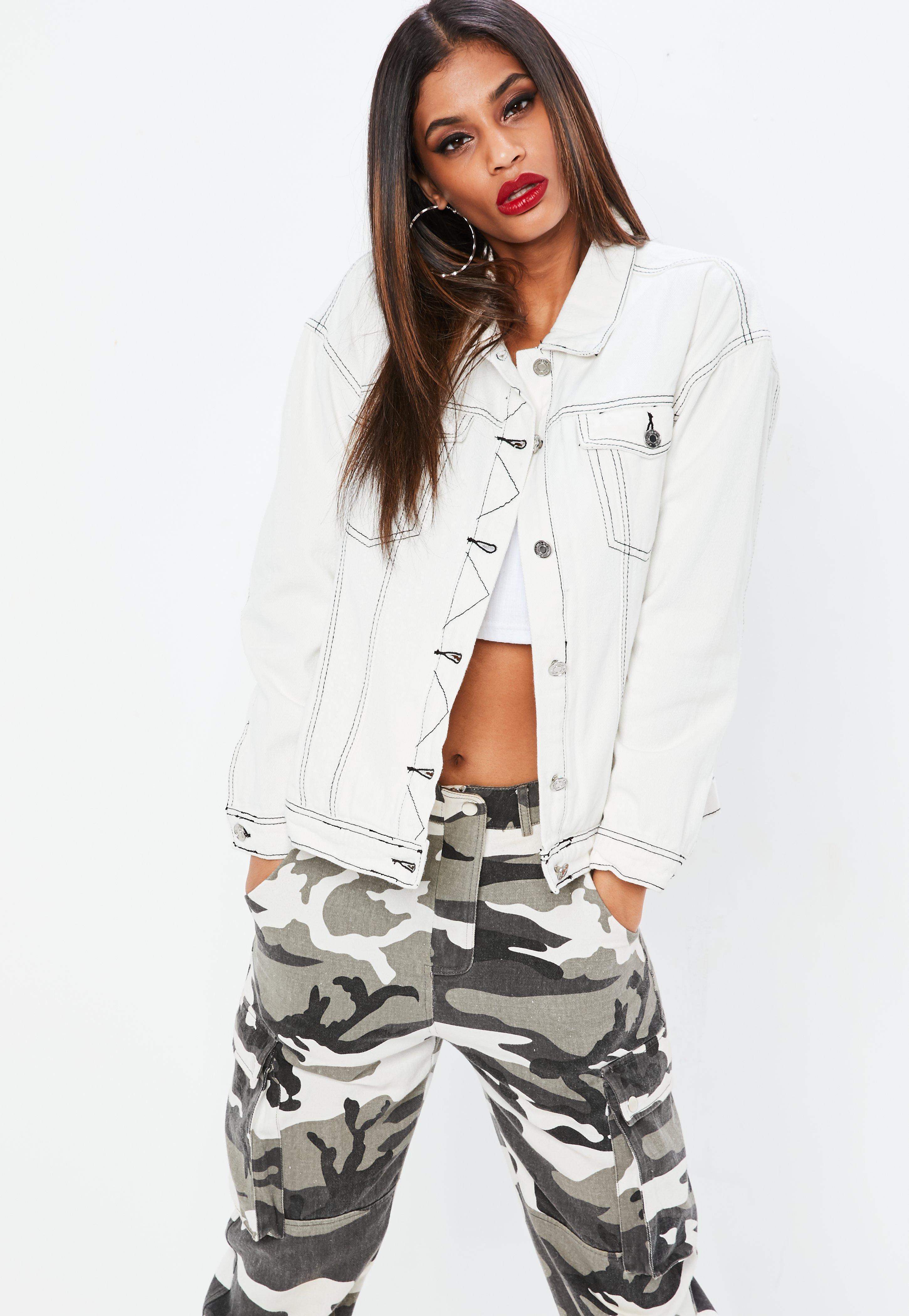 2b0bfddf2c2f4 Missguided White Contrast Stitch Denim Jacket in White - Lyst