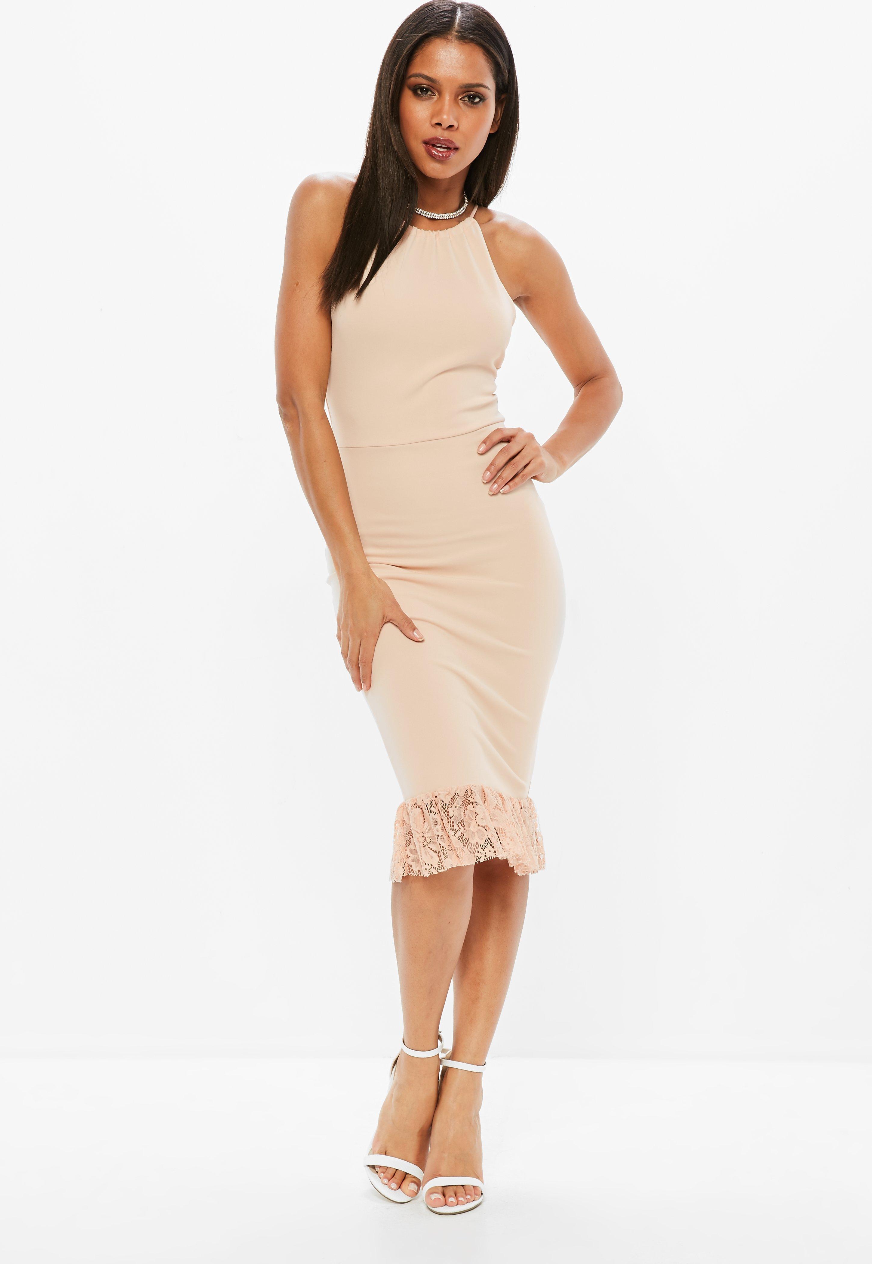 f4724b720f785 Lyst - Missguided Pink Scuba 90s Neck Lace Frill Hem Midi Dress in Pink