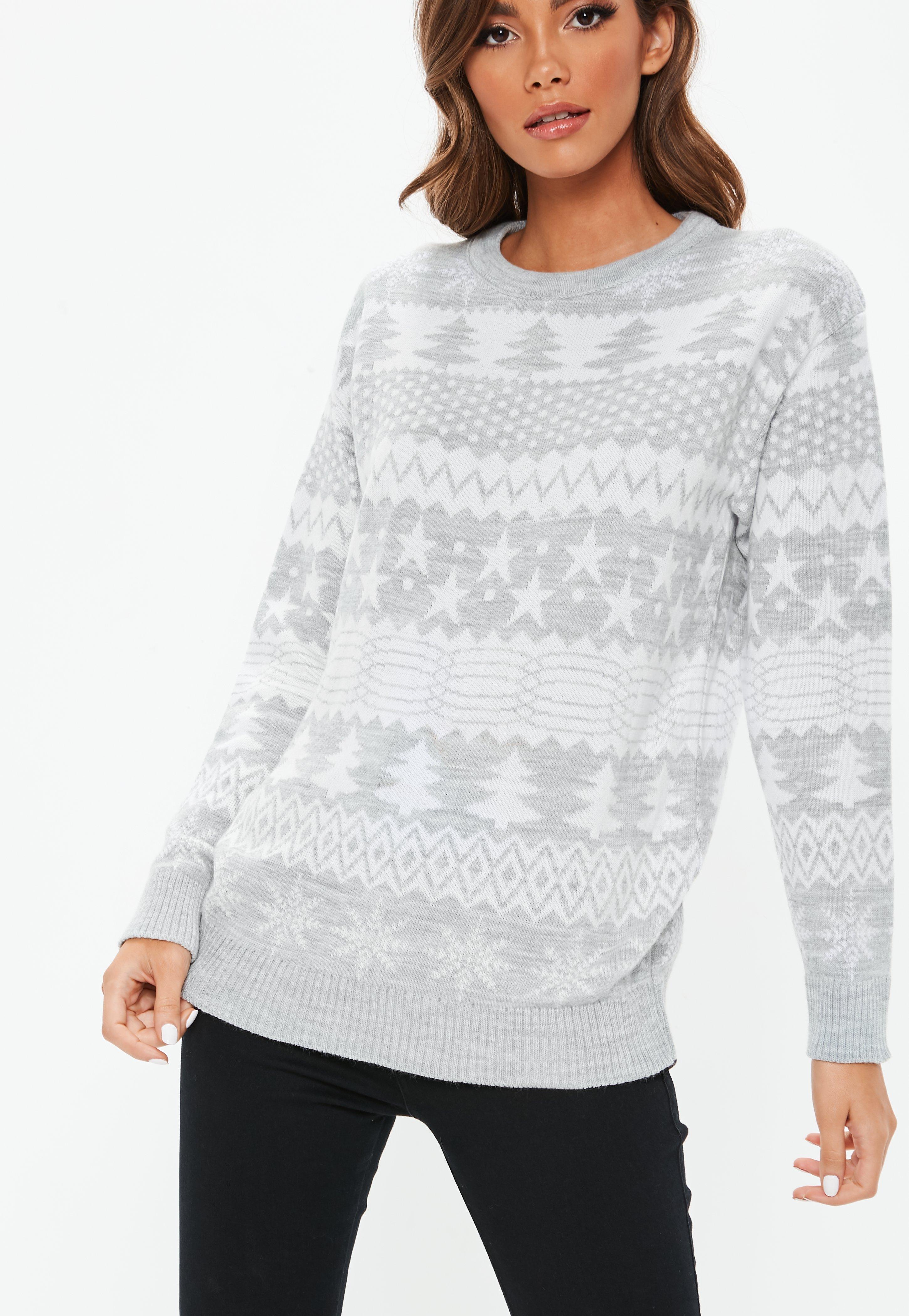 845659c518 ... Grey Knitted Printed Christmas Jumper - Lyst. View fullscreen