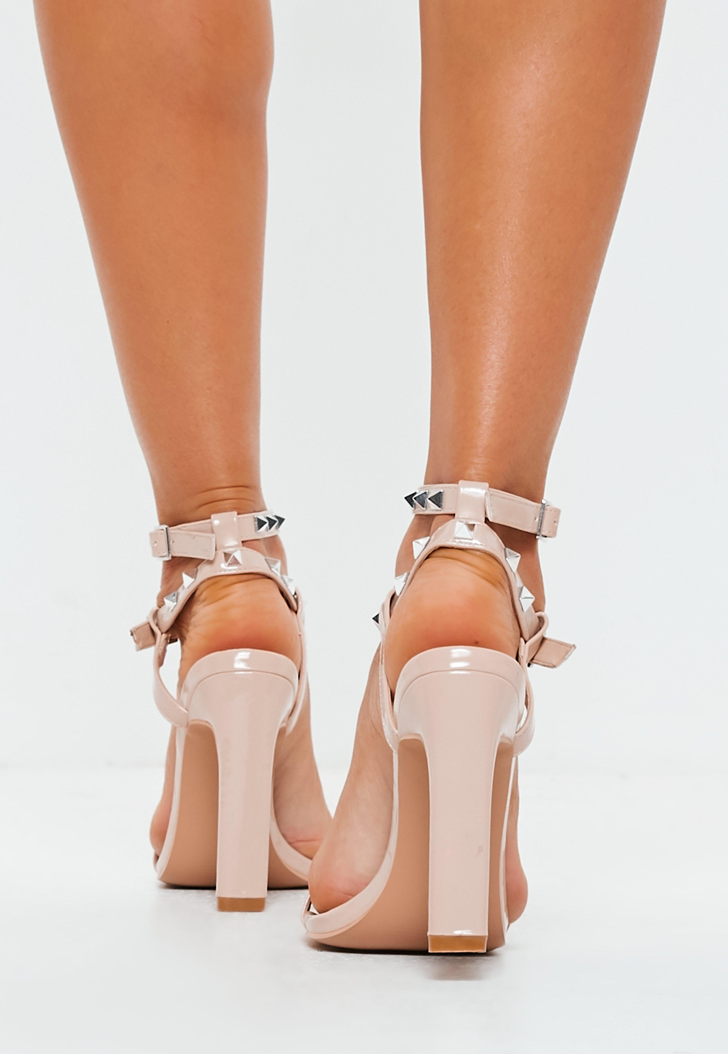7469906987b Missguided - Natural Nude Bar Studded Heel Sandals - Lyst. View fullscreen