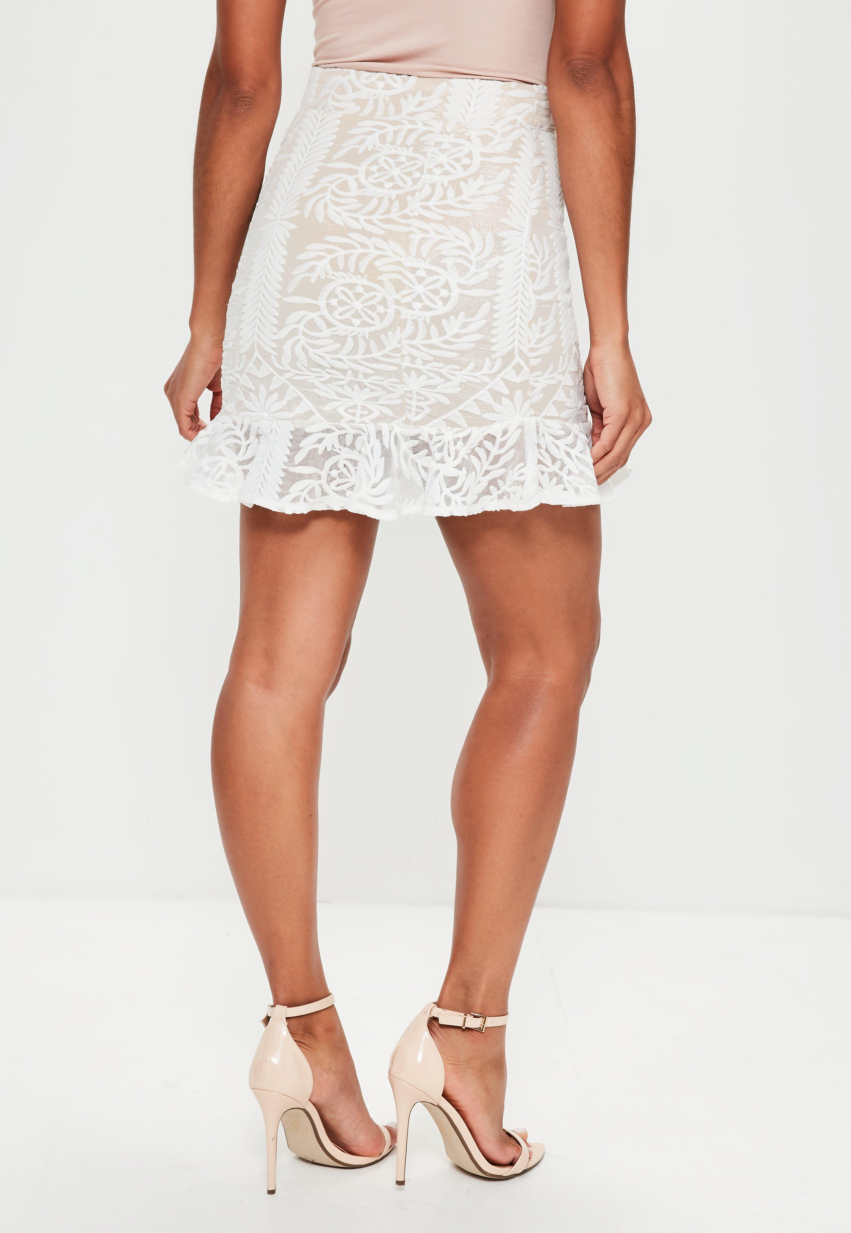 0aa0c4d963 Lyst - Missguided Premium Nude Embroidered Frill Hem Mini Skirt in White