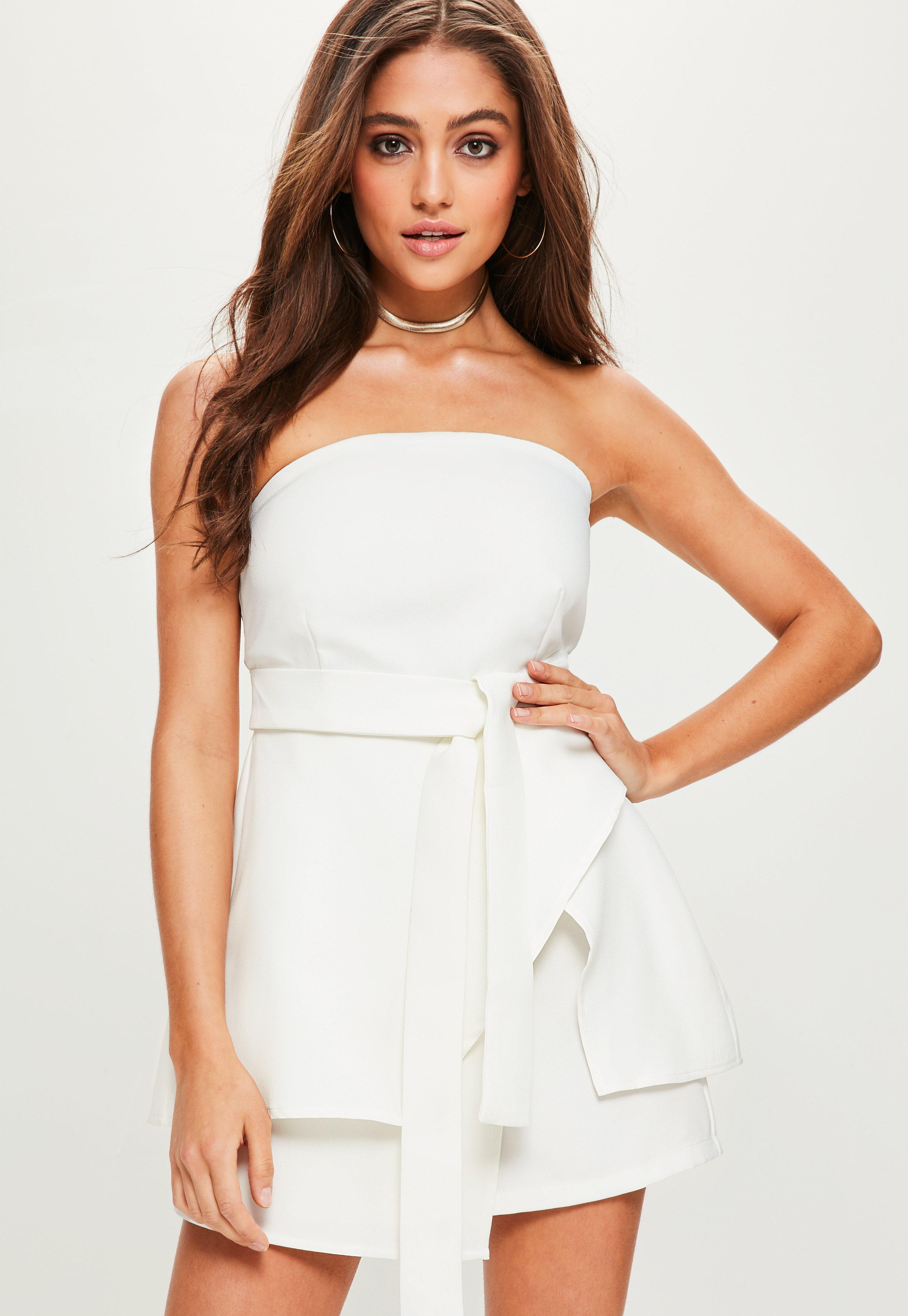 0094e35aefe Lyst - Missguided White Bandeau Tie Waist Skort Playsuit in White ...