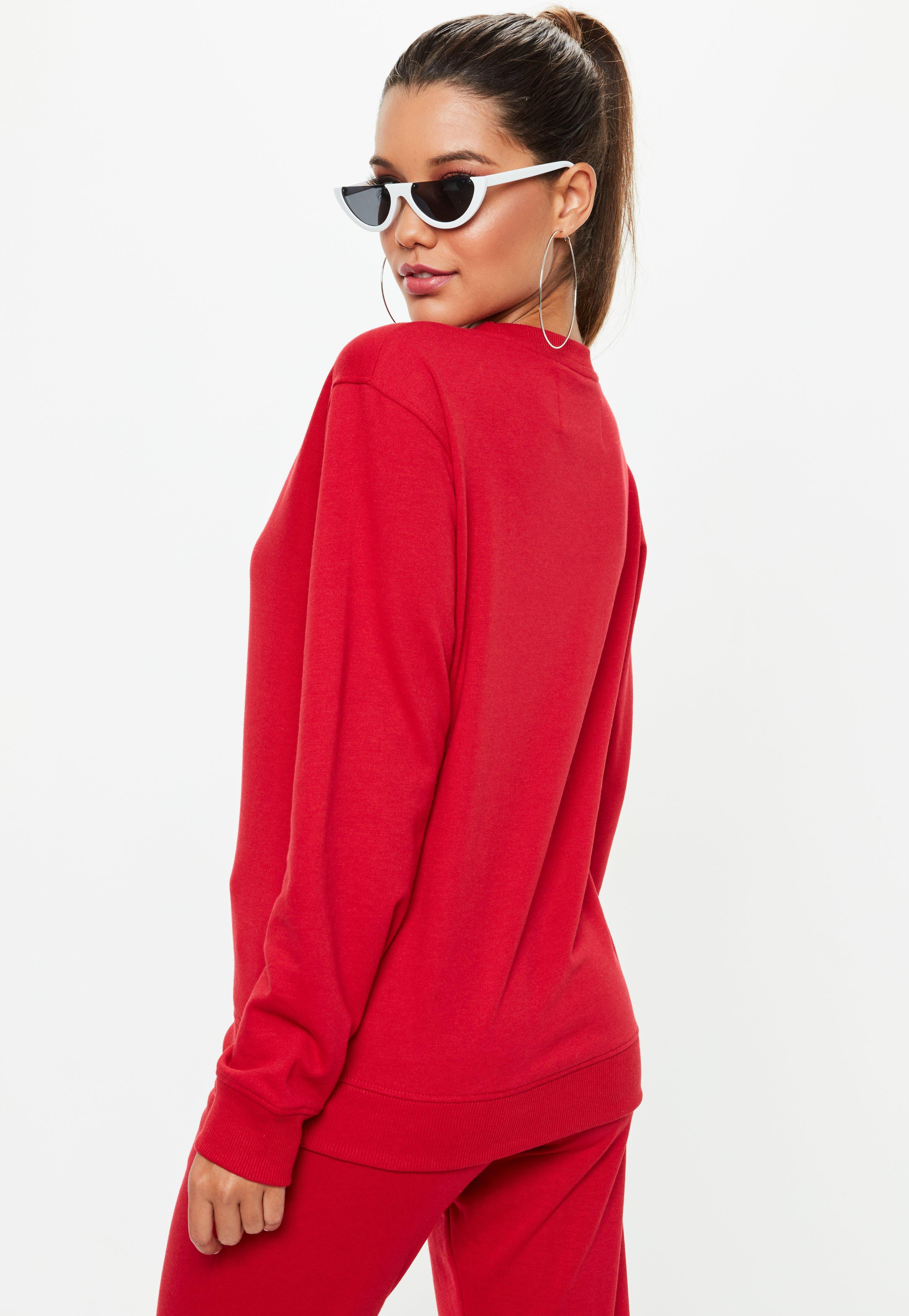 Printed Lyst Sweatshirt City In Red Missguided Barbie X Trwq7rX
