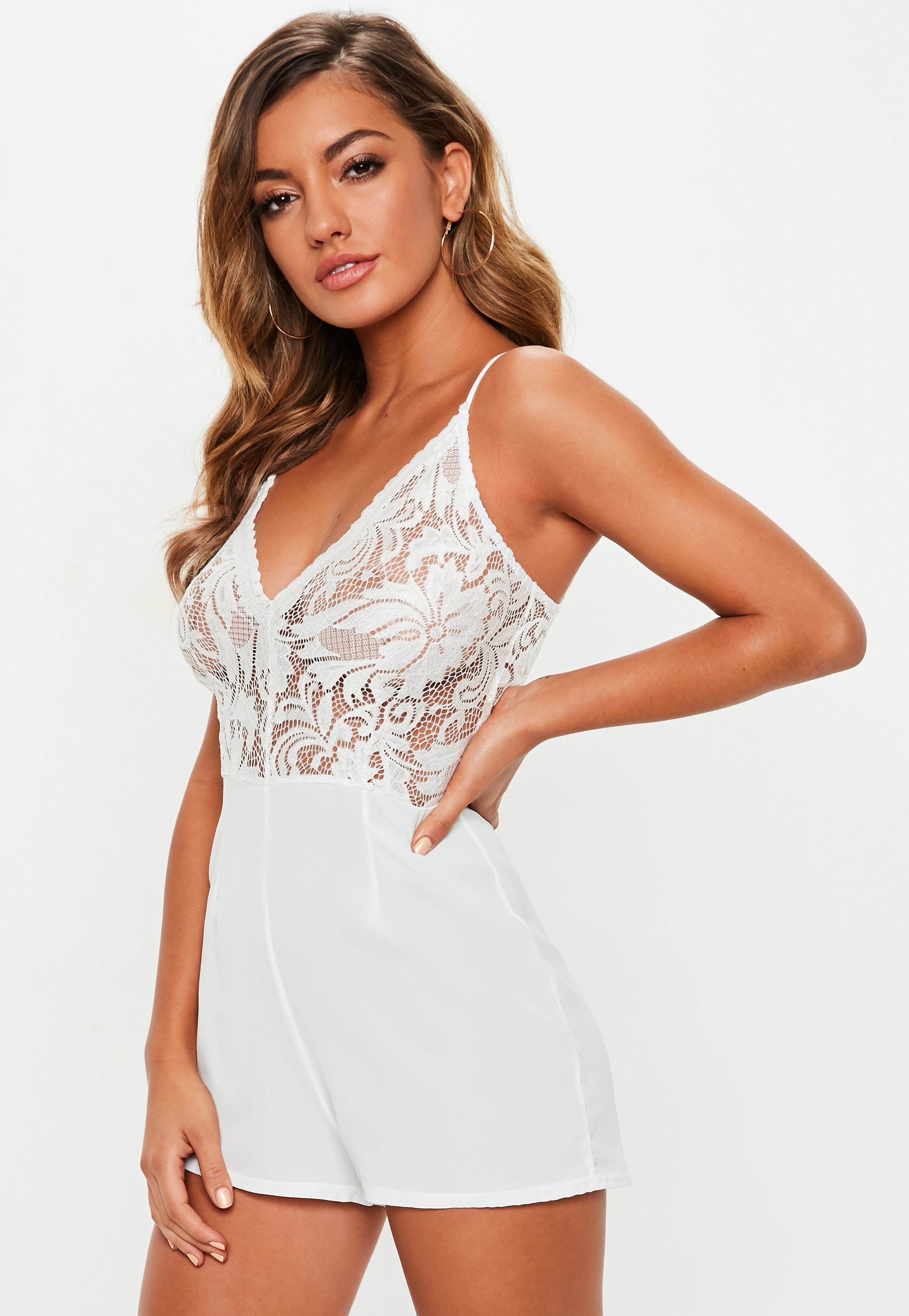 29b98da36716 Lyst - Missguided White Strappy Lace V Front Romper in White