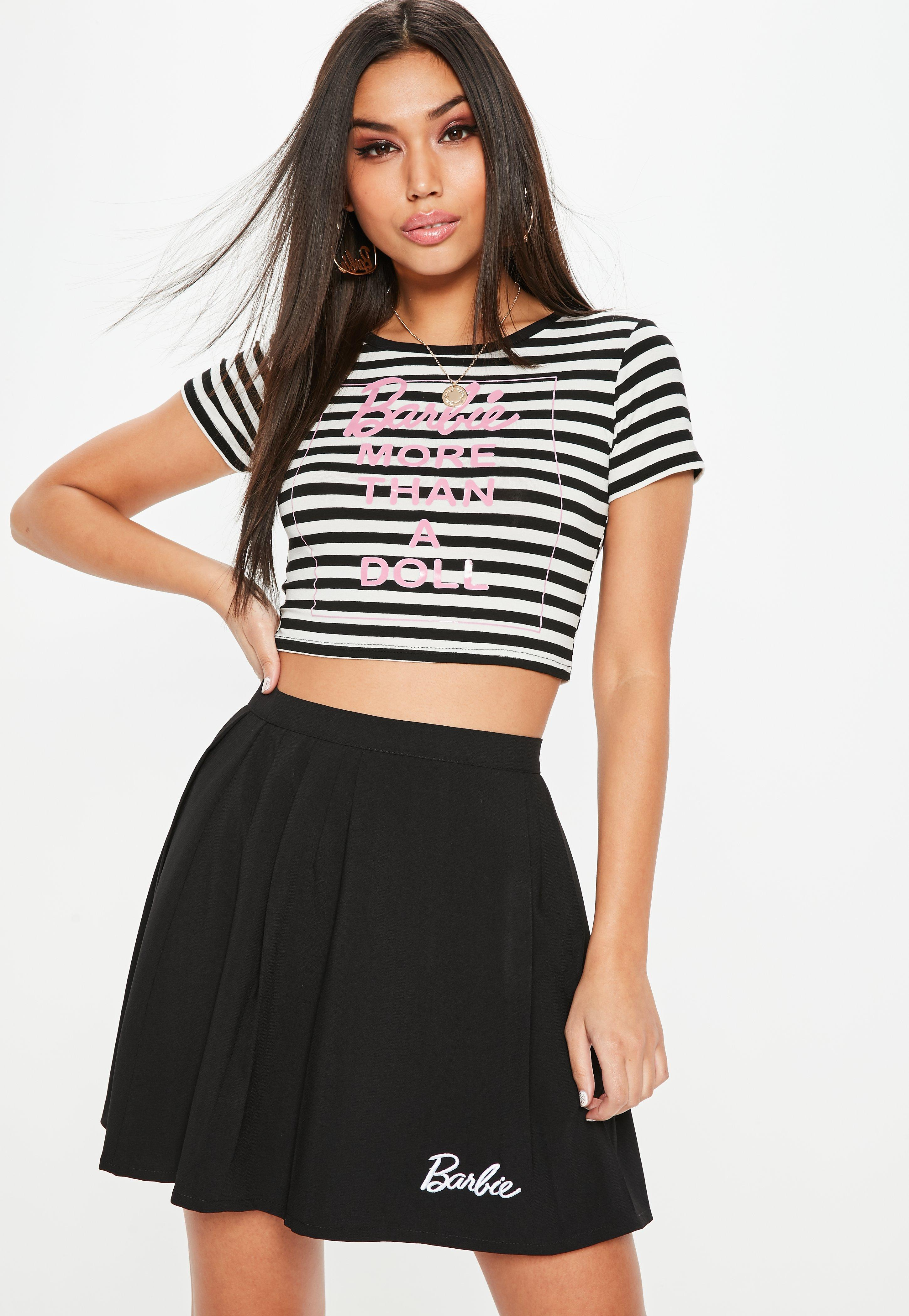 7f889a5d974 Lyst - Missguided Barbie X Black & White Striped Crop Top in Black