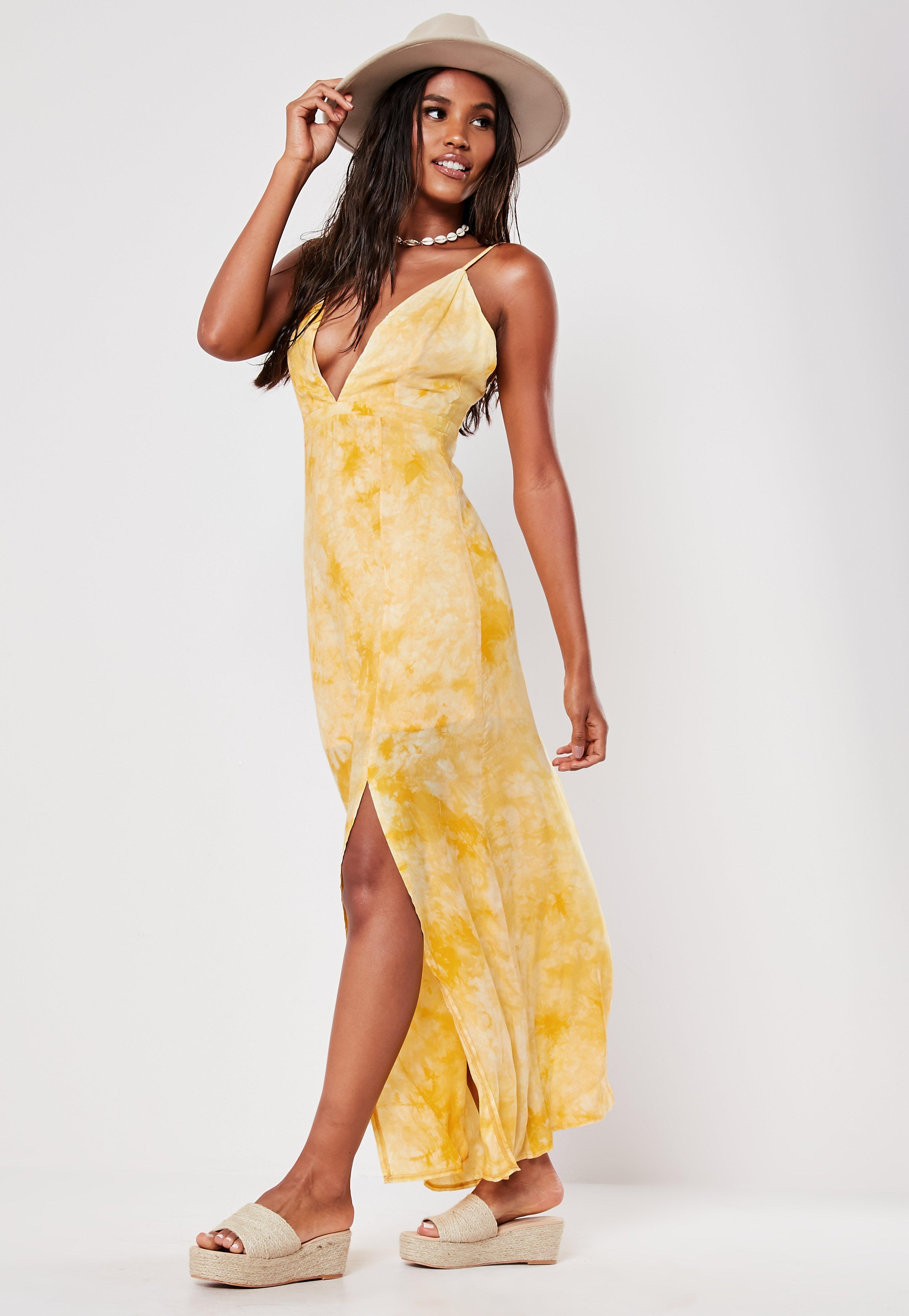 646cfcfed9 Missguided - Yellow Tie Dye Plunge Maxi Dress - Lyst. View fullscreen