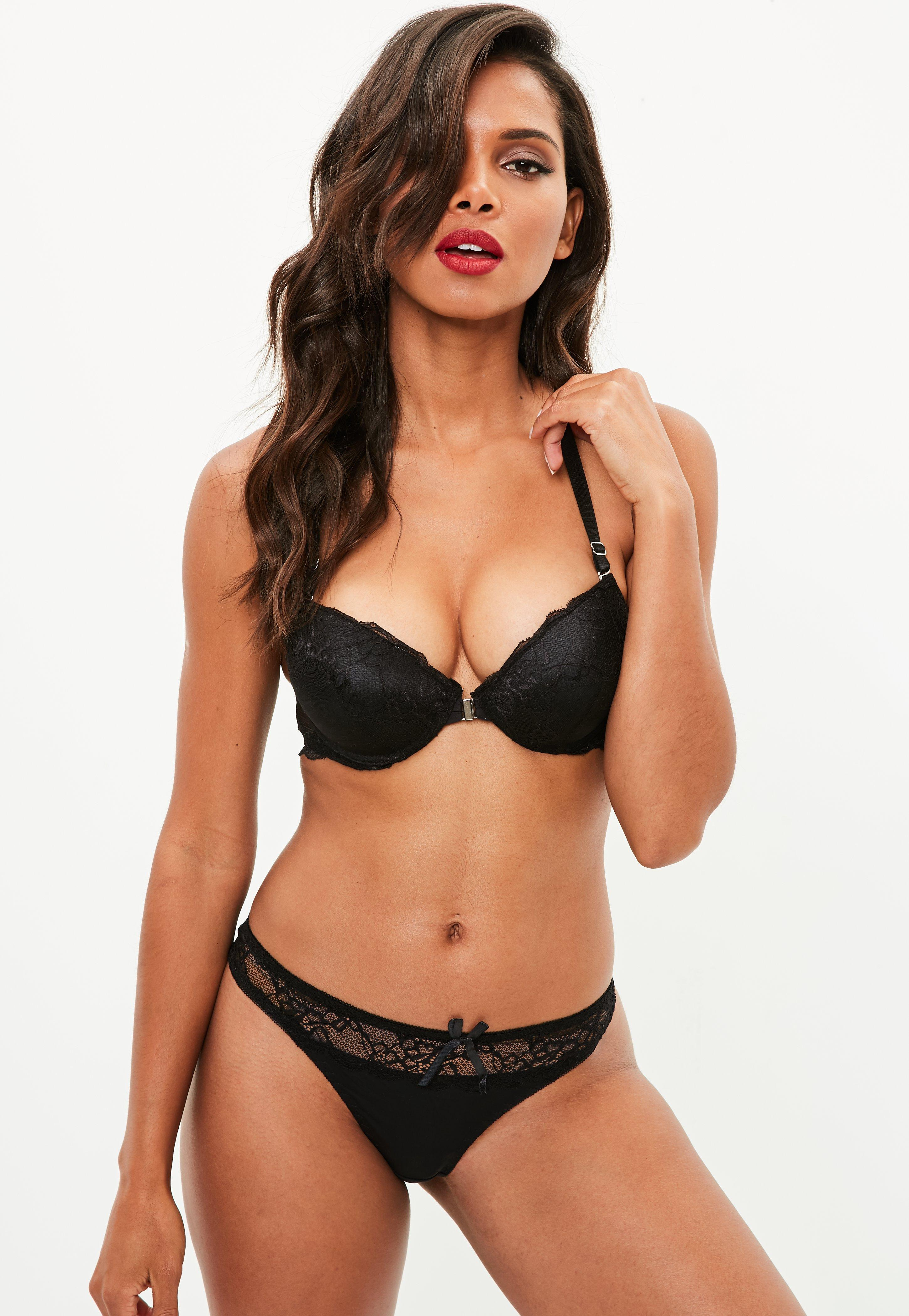 bf0ac609a1 Missguided Black Front Fastening Lace Racer Bra And Thong Set in ...